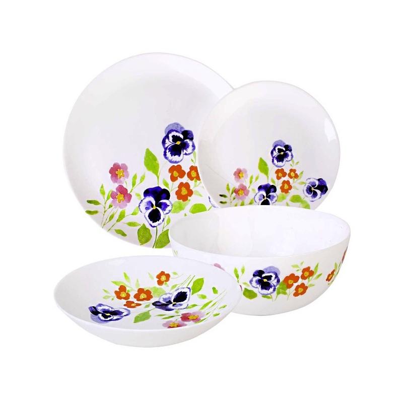 Набор столовой посуды Luminarc Magda, 19 предметовH8726Набор Luminarc Magda состоит из 6 суповых тарелок, 6 обеденных тарелок, 6 десертных тарелок и глубокого салатника. Изделия выполнены из ударопрочного стекла, имеют яркий дизайн с изящным цветочным принтом и классическую круглую форму. Посуда отличается прочностью, гигиеничностью и долгим сроком службы, она устойчива к появлению царапин и резким перепадам температур. Такой набор прекрасно подойдет как для повседневного использования, так и для праздников или особенных случаев. Набор столовой посуды Luminarc Magda - это не только яркий и полезный подарок для родных и близких, а также великолепное дизайнерское решение для вашей кухни или столовой. Можно мыть в посудомоечной машине и использовать в микроволновой печи. Диаметр суповой тарелки: 20 см. Высота суповой тарелки: 4,3 см. Диаметр обеденной тарелки: 27,3 см. Высота обеденной тарелки: 2 см. Диаметр десертной тарелки: 19 см. Высота десертной...