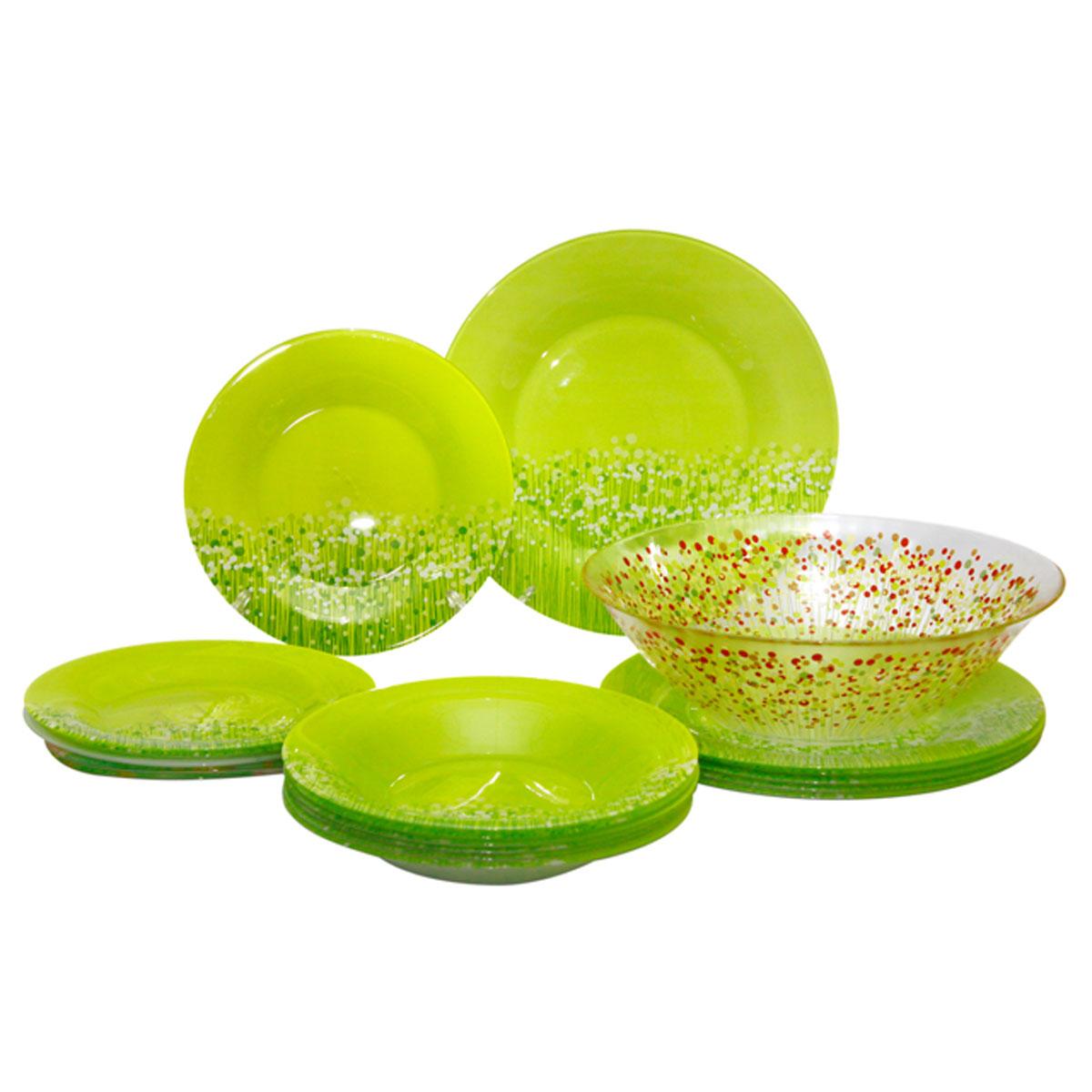 Набор столовой посуды Luminarc FlowerFields Anis, цвет: салатовый, красный, 19 предметовH2499Набор Luminarc FlowerFields Anis состоит из 6 суповых тарелок, 6 обеденных тарелок, 6 десертных тарелок и глубокого салатника. Изделия выполнены из ударопрочного стекла, имеют яркий дизайн с рисунком по краю и классическую круглую форму. Посуда отличается прочностью, гигиеничностью и долгим сроком службы, она устойчива к появлению царапин и резким перепадам температур. Такой набор прекрасно подойдет как для повседневного использования, так и для праздников или особенных случаев. Набор столовой посуды Luminarc FlowerFields Anis - это не только яркий и полезный подарок для родных и близких, а также великолепное дизайнерское решение для вашей кухни или столовой. Можно мыть в посудомоечной машине и использовать в микроволновой печи. Диаметр суповой тарелки: 21,5 см. Высота суповой тарелки: 3 см. Диаметр обеденной тарелки: 25 см. Высота обеденной тарелки: 1,5 см. Диаметр десертной тарелки: 19,5 см. ...