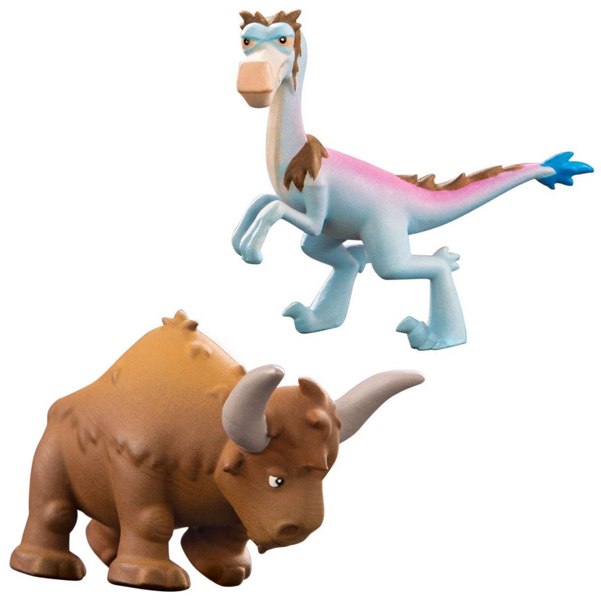 Хороший динозавр Набор фигурок Кеттл и Бабба62305Набор фигурок Хороший динозавр Кеттл и Бабба состоит из двух фигурок: велоцираптора Баббы и длиннорогого быка по имени Кеттл. Фигурки прекрасно детализированы, в точности похожи на своих героев из мультика. Изготовлены из высококачественных нетоксичных материалов, абсолютно безопасных для вашего малыша. По сюжету мультфильма Хороший динозавр Бабба - коварный предводитель шайки рапторов. Кеттл - бык-бизодон из стада тираннозавра Бутча. Сила рапторов в их стратегии: они нападают группой. Но и длиннорогие быки не так просты и неповоротливы, какими кажутся! Набор поможет разыграть увлекательные сцены противостояния раптора и быка. Кто победит? Ваш ребенок часами будет играть с такой игрушкой, придумывая различные истории.