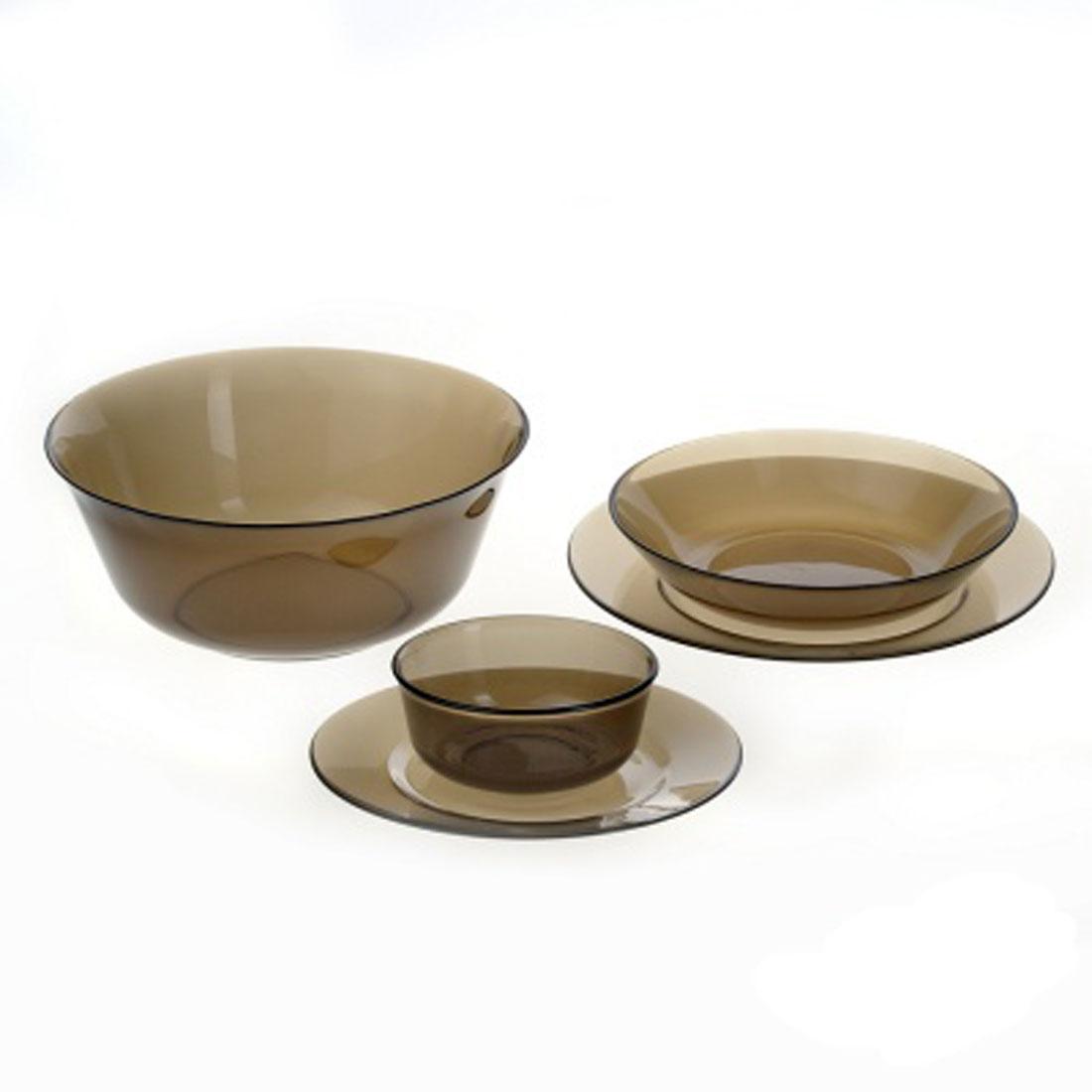Набор столовой посуды Luminarc Directoire Eclipse, 20 предметовH0241Набор Luminarc Directoire Eclipse состоит из 6 суповых тарелок, 6 обеденных тарелок, 6 десертных тарелок, большого и малого салатников. Изделия выполнены из ударопрочного стекла, имеют яркий дизайн и классическую круглую форму. Посуда отличается прочностью, гигиеничностью и долгим сроком службы, она устойчива к появлению царапин и резким перепадам температур. Такой набор прекрасно подойдет как для повседневного использования, так и для праздников или особенных случаев. Набор столовой посуды Luminarc Directoire Eclipse - это не только яркий и полезный подарок для родных и близких, а также великолепное дизайнерское решение для вашей кухни или столовой. Можно мыть в посудомоечной машине и использовать в микроволновой печи. Диаметр суповой тарелки: 20,5 см. Высота суповой тарелки: 4,5 см. Диаметр обеденной тарелки: 24,5 см. Высота обеденной тарелки: 2,5 см. Диаметр десертной тарелки: 19,5 см. Высота...