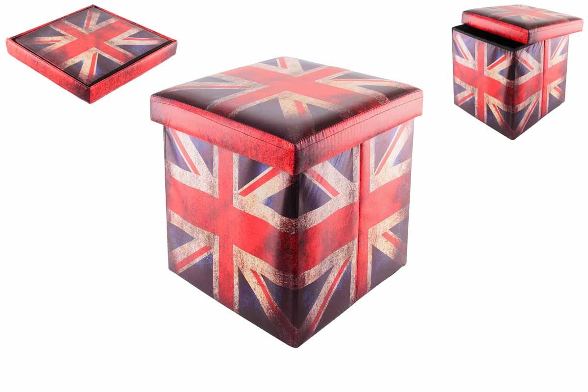 Пуфик складной El Casa Британский флаг, с ящиком для хранения, 35 см х 35 см х 35 см171148Складной пуфик El Casa Британский флаг, выполненный из МДФ и экокожи, понравится всем ценителям оригинальных вещей. Благодаря удобной конструкции складывается и раскладывается одним движением. В сложенном виде изделие занимает минимум места, его легко хранить и перевозить. В таком пуфике можно хранить всевозможные предметы: книги, игрушки, рукоделие. Яркий дизайн привнесет в ваш интерьер неповторимый шарм. Размер пуфика (в собранном виде): 35 см х 35 см х 35 см.