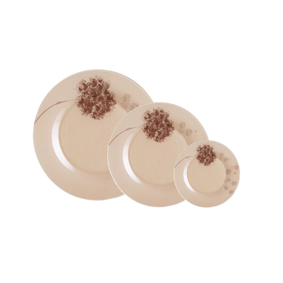 Набор столовой посуды Luminarc Stella, 18 предметовJ1916Набор Luminarc Stella состоит из 6 суповых тарелок, 6 обеденных тарелок, 6 десертных тарелок. Изделия выполнены из ударопрочного стекла, имеют яркий дизайн с рисунком по краям и классическую круглую форму. Посуда отличается прочностью, гигиеничностью и долгим сроком службы, она устойчива к появлению царапин и резким перепадам температур. Такой набор прекрасно подойдет как для повседневного использования, так и для праздников или особенных случаев. Набор столовой посуды Luminarc Stella - это не только яркий и полезный подарок для родных и близких, а также великолепное дизайнерское решение для вашей кухни или столовой. Можно мыть в посудомоечной машине и использовать в микроволновой печи. Диаметр суповой тарелки: 21,5 см. Высота суповой тарелки: 3 см. Диаметр обеденной тарелки: 25 см. Высота обеденной тарелки: 1,5 см. Диаметр десертной тарелки: 20 см. Высота десертной тарелки: 1,7 см.