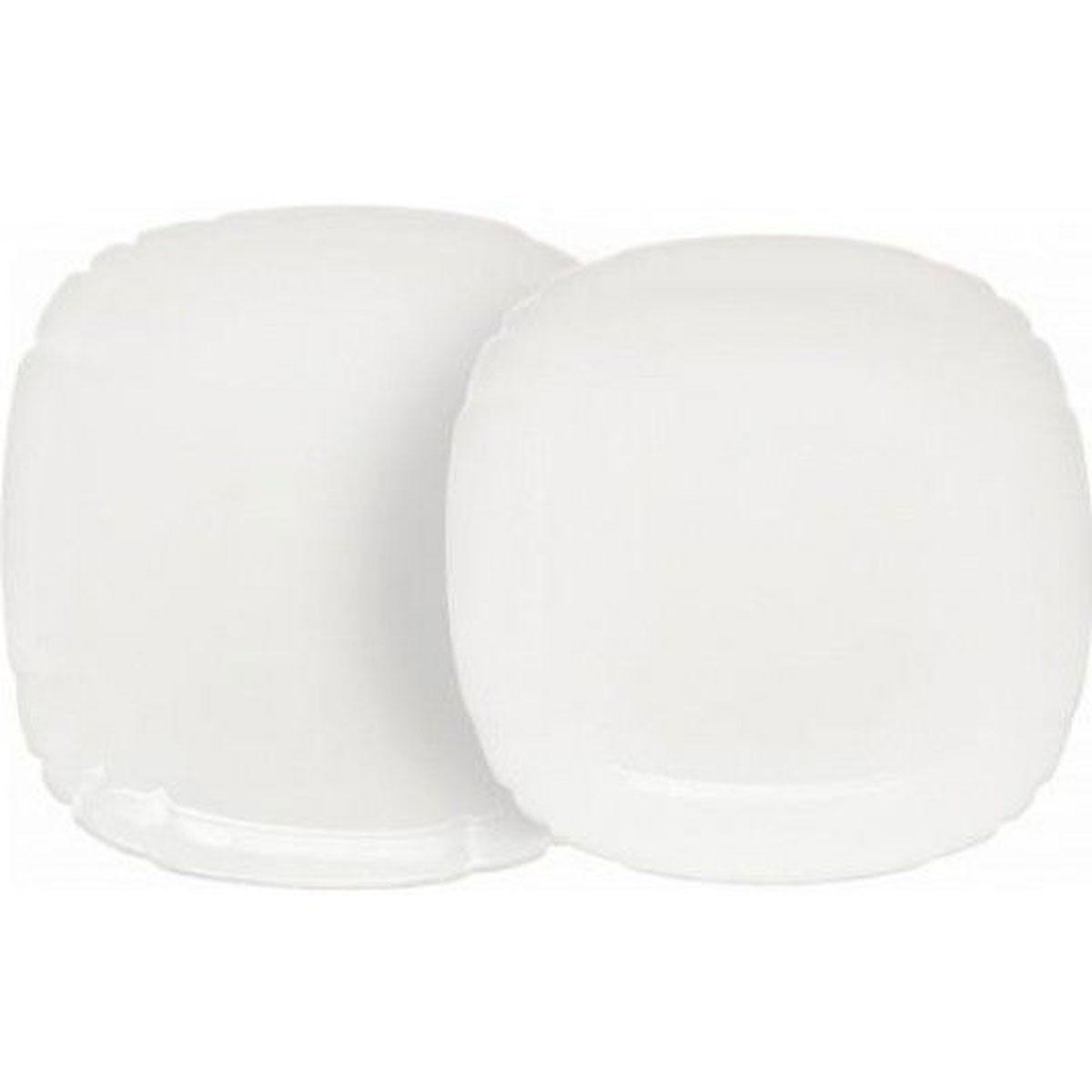 Набор столовой посуды Luminarc Lotusia, 12 предметовH3526Набор Luminarc Lotusia состоит из 6 суповых тарелок и 6 обеденных тарелок. Изделия выполнены из ударопрочного стекла, имеют яркий дизайн с рельефным краям и изящную квадратную форму. Посуда отличается прочностью, гигиеничностью и долгим сроком службы, она устойчива к появлению царапин и резким перепадам температур. Такой набор прекрасно подойдет как для повседневного использования, так и для праздников или особенных случаев. Набор столовой посуды Luminarc Lotusia - это не только яркий и полезный подарок для родных и близких, а также великолепное дизайнерское решение для вашей кухни или столовой. Можно мыть в посудомоечной машине и использовать в микроволновой печи. Размер суповой тарелки: 20,5 см х 20,5 см. Высота суповой тарелки: 3,5 см. Размер обеденной тарелки: 25 см х 25 см. Высота обеденной тарелки: 1,8 см.