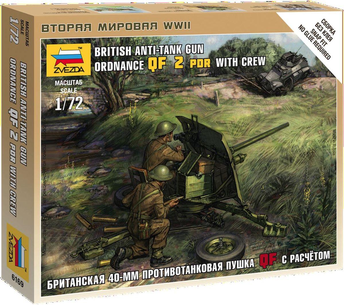Звезда Сборная модель Британская противотанковая пушка QF-2-pdr с расчетом6169С помощью сборной модели Звезда Британская противотанковая пушка QF-2-pdr с расчетом вы и ваш ребенок сможете собрать уменьшенную копию настоящей британской противотанковой пушки с расчетом времен Второй мировой войны. Набор включает в себя 33 пластиковых элемента для сборки пушки, 2 фигурок и подставки с флагом, а также инструкцию на русском языке. Сборка без клея! Орудие разрабатывалось в начале 30-х годов, и к началу войны сильно устарело. По опыту боёв во Франции, было решено поменять двухфунтовку, на новую мощную пушку. Однако, простота в изготовлении и лёгкая обучаемость на неё экипажа, позволили простоять на вооружении британской армии до начала лета 1942 года. В итоге, в Африке, англичане испытывали сложности в борьбе с танками противника. Процесс сборки развивает интеллектуальные и инструментальные способности, воображение и конструктивное мышление, а также прививает практические навыки работы со схемами и чертежами. Модель не раскрашена. Краски...