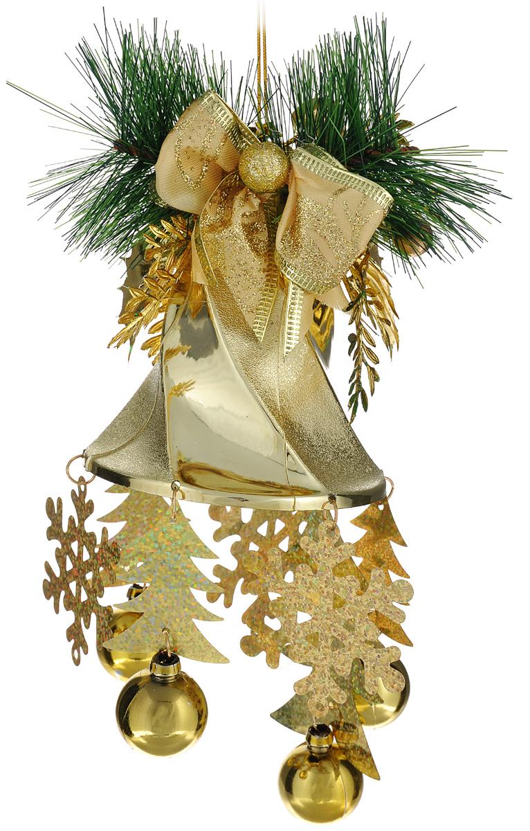 Новогоднее подвесное украшение Sima-land Колокольчик с бантом, высота 25 см1113604Новогоднее украшение Sima-land Колокольчик с бантом отлично подойдет для декорации вашего дома и новогодней ели. Украшение, выполненное в виде колокольчика с подвесками, оформлено текстильным бантом и елочной веткой. Изделие оснащено петелькой для подвешивания. Елочная игрушка - символ Нового года. Она несет в себе волшебство и красоту праздника. Создайте в своем доме атмосферу веселья и радости, украшая всей семьей новогоднюю елку нарядными игрушками, которые будут из года в год накапливать теплоту воспоминаний.