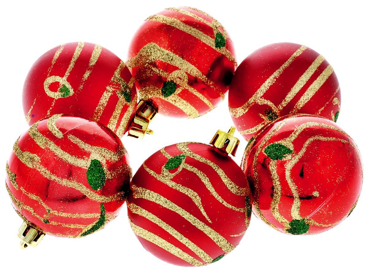 Набор новогодних подвесных украшений Феникс-Презент Жар-птица, цвет: красный, золотистый, диаметр 6 см, 6 шт35545Набор новогодних подвесных украшений Феникс-Презент Жар-птица прекрасно подойдет для праздничного декора вашей ели. Набор состоит из 6 пластиковых украшений в виде матовых и глянцевых шаров, декорированных блестками. Для удобного размещения на елке для каждого украшения предусмотрена текстильная петелька. Елочная игрушка - символ Нового года. Она несет в себе волшебство и красоту праздника. Создайте в своем доме атмосферу веселья и радости, украшая новогоднюю елку нарядными игрушками, которые будут из года в год накапливать теплоту воспоминаний. Откройте для себя удивительный мир сказок и грез. Почувствуйте волшебные минуты ожидания праздника, создайте новогоднее настроение вашим дорогим и близким.