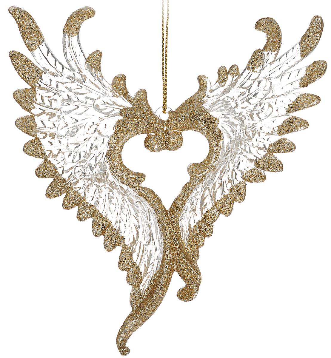 Новогоднее подвесное украшение Феникс-презент Крылья, 11,4 х 13,5 см38579Новогоднее украшение Феникс-презент Крылья, изготовленное из высококачественного пластика, прекрасно подойдет для праздничного декора дома и новогодней ели. Изделие выполнено в виде крыльев ангела и оформлено блестками. С помощью специальной текстильной петельки его можно повесить в любом понравившемся вам месте. Но, конечно, удачнее всего такая игрушка будет смотреться на праздничной елке. Елочная игрушка - символ Нового года. Она несет в себе волшебство и красоту праздника. Создайте в своем доме атмосферу веселья и радости, украшая новогоднюю елку нарядными игрушками, которые будут из года в год накапливать теплоту воспоминаний.
