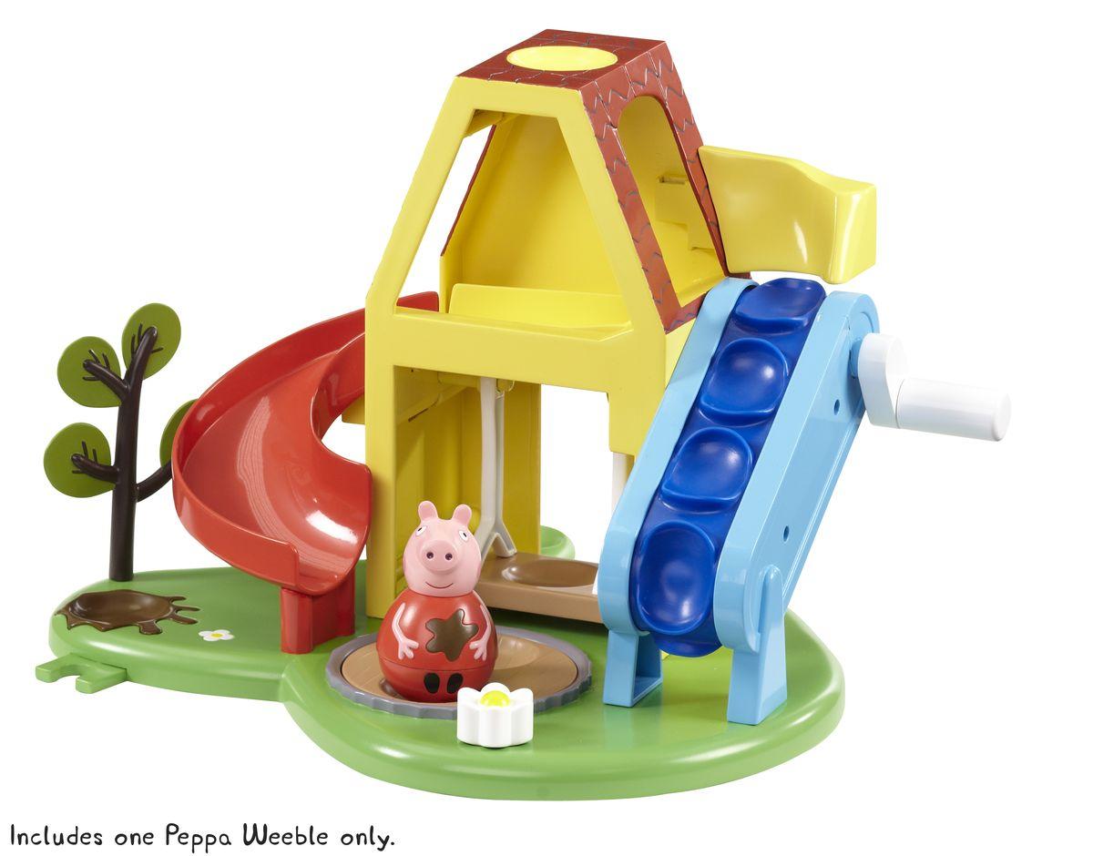 Peppa Pig Игровой набор Площадка Пеппы неваляшки с фигуркой Пеппы28795В игровом наборе «Площадка Пеппы-неваляшки» ТМ «Свинка Пеппа» 2 предмета: Пеппа-неваляшка размером 7,8 х 4,5см с выпуклыми ручками; игровая площадка с качелью, горкой, подъемником, приводимым в движение с помощью ручки (неваляшка поднимается по подъемнику, попадает в домик, скатывается с горки и приземляется в песочницу), песочницей, крутящейся с помощью рычага в виде цветка, деревцем и множеством круглых углублений для размещения неваляшки. Фигурка Пеппы забавно покачивается и вращается, не падая. Игрушки выполнены из безопасного пластика и пластизоля. Товар сертифицирован. Упаковка – подарочная открытая коробка.