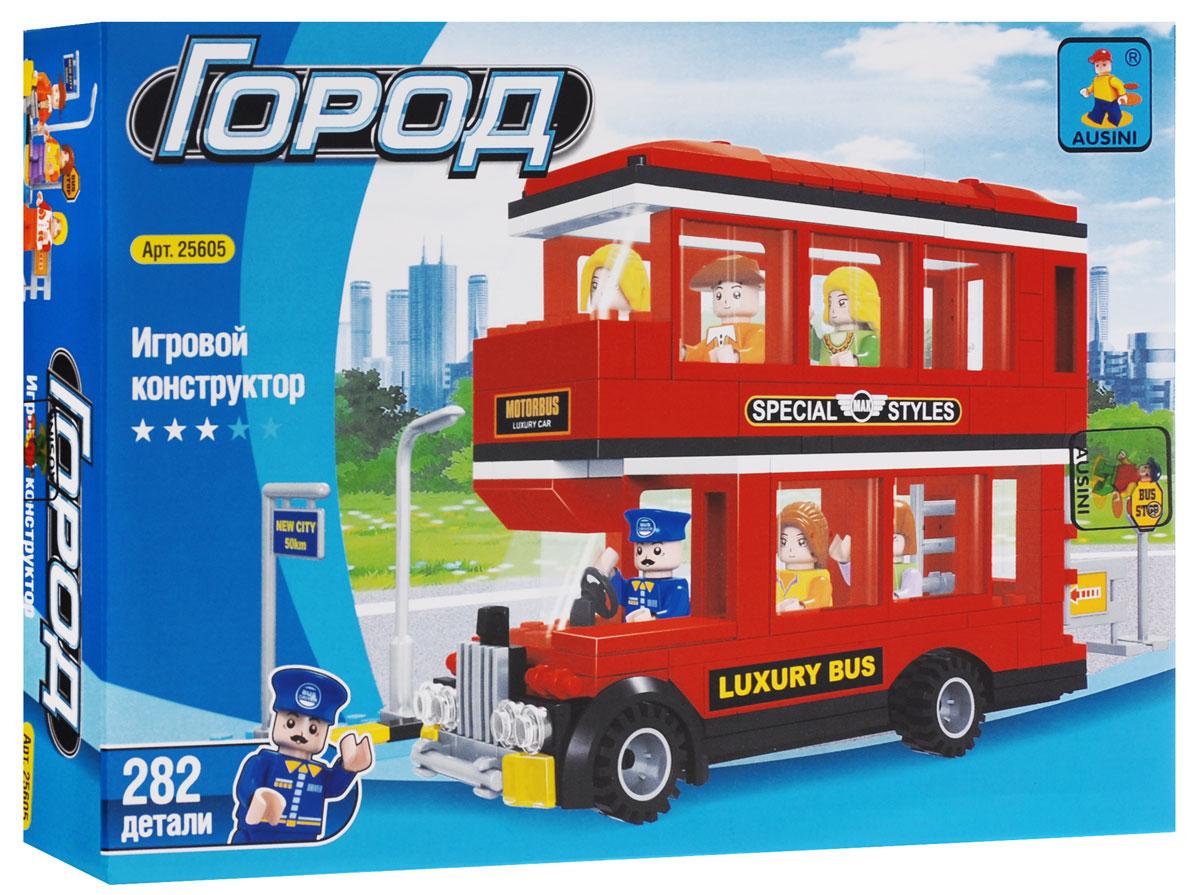 Ausini Конструктор Городской автобус25605Конструктор Ausini Городской автобус содержит 282 пластиковых элемента, с помощью которых малыш сможет собрать вместительный двухэтажный автобус с пассажирами и водителем, а также автобусную остановку. В комплект также входит подробная иллюстрированная инструкция и лист с наклейками, которыми ребенок сможет украсить готовую поделку. Типовые детали конструктора совместимы с другими наборами. Объединяя детали и фантазируя, ребенок сможет создать свою собственную, неповторимую поделку! Конструктор выполнен из прочного пластика. Ребенок сможет часами играть с конструктором, комбинируя детали и придумывая различные истории. Игры с конструкторами помогут ребенку развить воображение, внимательность, пространственное мышление и творческие способности. Совместим с конструкторами Лего.