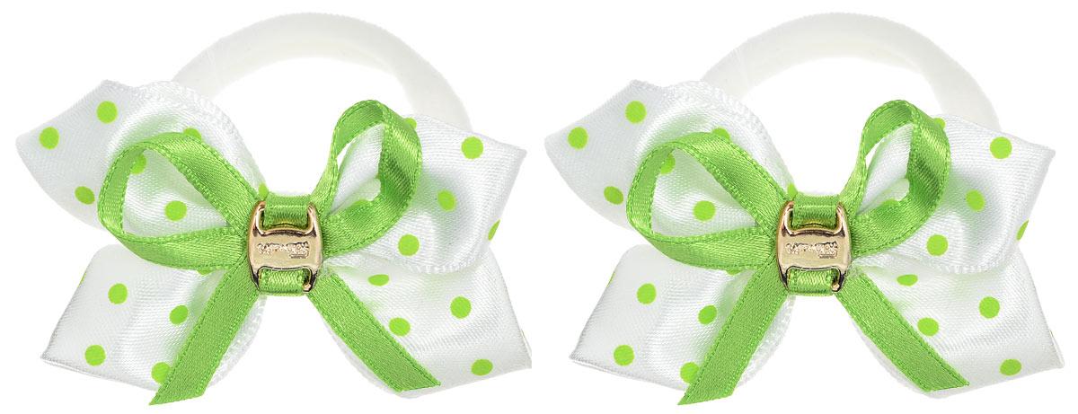 Babys Joy Резинка для волос цвет белый зеленый 2 шт MN 39/2MN 39/2_зеленый/белыйРезинка для волос Babys Joy выполнена в виде бантика, сшитого из двух разных лент, однотонной и в горошек, украшенного в центре миниатюрной пряжкой золотистого цвета. Резинка позволит не только убрать непослушные волосы с лица, но и придать образу немного романтичности и очарования. Резинка для волос Babys Joy подчеркнет уникальность вашей маленькой модницы и станет прекрасным дополнением к ее неповторимому стилю.