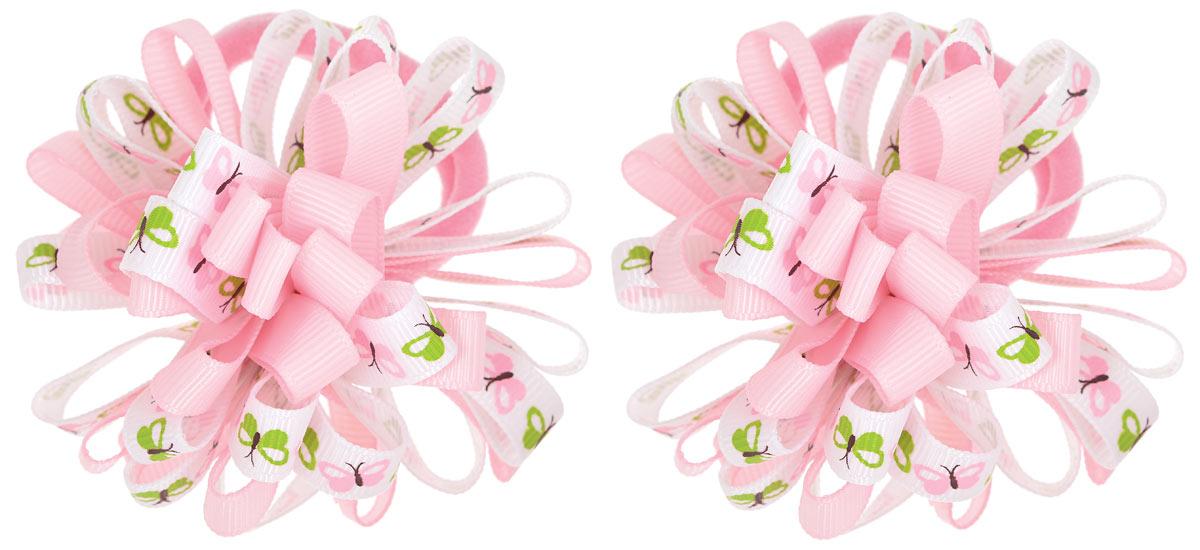 Babys Joy Резинка для волос цвет розовый 2 шт K 7K 7_розовый/бабочкиРезинка для волос Babys Joy выполнена в виде цветка, сшитого из двух разных лент, одной однотонной, и второй, украшенной изображением бабочек. Резинка позволит не только убрать непослушные волосы с лица, но и придать образу немного романтичности и очарования. Резинка для волос Babys Joy подчеркнет уникальность вашей маленькой модницы и станет прекрасным дополнением к ее неповторимому стилю.