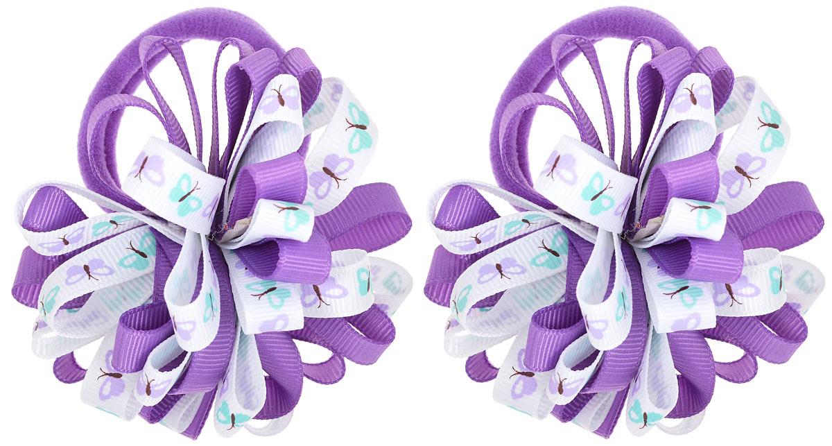 Babys Joy Резинка для волос цвет фиолетовый 2 шт K 7K 7_фиолетовый/бабочкиРезинка для волос Babys Joy выполнена в виде цветка, сшитого из двух разных лент, одной однотонной, и второй, украшенной изображением бабочек. Резинка позволит не только убрать непослушные волосы с лица, но и придать образу немного романтичности и очарования. Резинка для волос Babys Joy подчеркнет уникальность вашей маленькой модницы и станет прекрасным дополнением к ее неповторимому стилю.