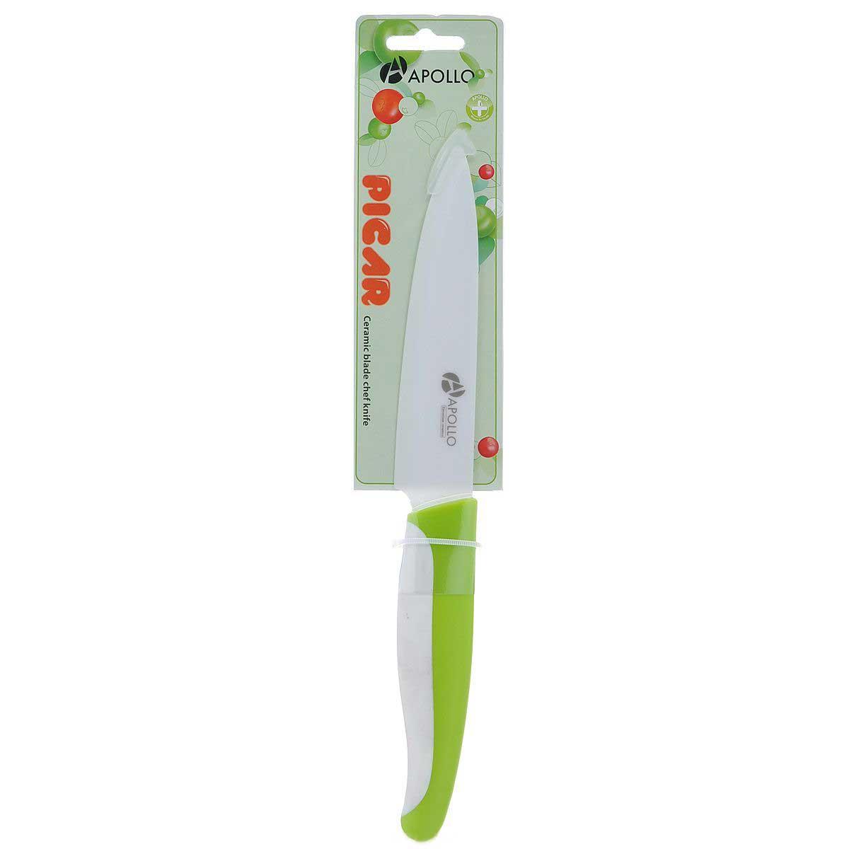 Нож универсальный Apollo Picar, керамический, цвет: белый, салатовый, длина лезвия 10 смPCR-02_салатовыйНож Apollo Picar изготовлен из высококачественной циркониевой керамики - гигиеничного, экологически чистого материала. Нож имеет острое лезвие, не требующее дополнительной заточки. Эргономичная рукоятка, выполненная из высококачественного пищевого пластика, не скользит в руках и делает резку удобной и безопасной. Такой нож предназначен для нарезки твердых и мягких продуктов: овощей, фруктов, сыра, мяса. Керамика - это отличная альтернатива металлу. В отличие от стальных ножей, керамические ножи не переносят ионы металла в пищу, не разрушаются от кислот овощей и фруктов и никогда не заржавеют. Этот нож будет служить вам многие годы при соблюдении простых правил. Общая длина ножа: 22 см.