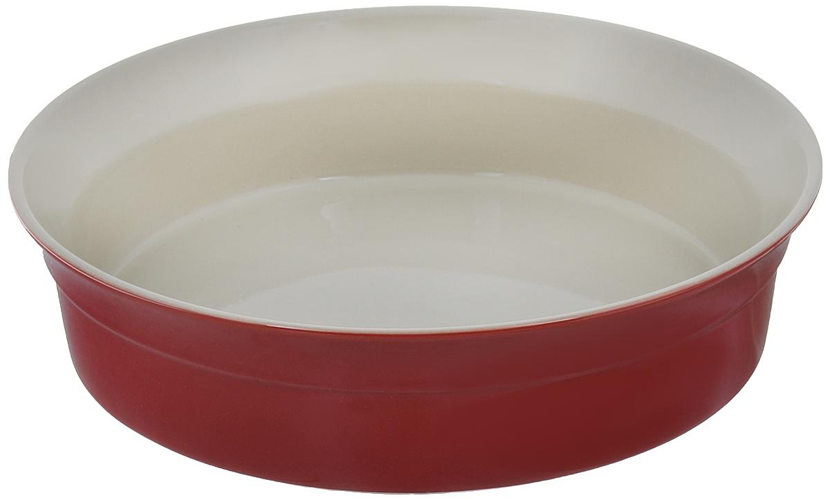 Блюдо для запекания BergHOFF Geminis, круглое, цвет: красный, бежевый, диаметр 25 см1695105Блюдо для запекания BergHOFF Geminis изготовлено из жаропрочной глазурованной керамики, что обеспечивает оптимальное распределение тепла. Оно может быть использовано, как для запекания различных блюд, так и подачи их на стол. Блюдо станет отличным дополнением к вашему кухонному инвентарю, а также украсит сервировку стола и подчеркнет ваш прекрасный вкус. Подходит для использования в СВЧ и духовом шкафу. Можно мыть в посудомоечной машине. Диаметр блюда (по верхнему краю): 25 см. Высота стенки: 6,5 см.