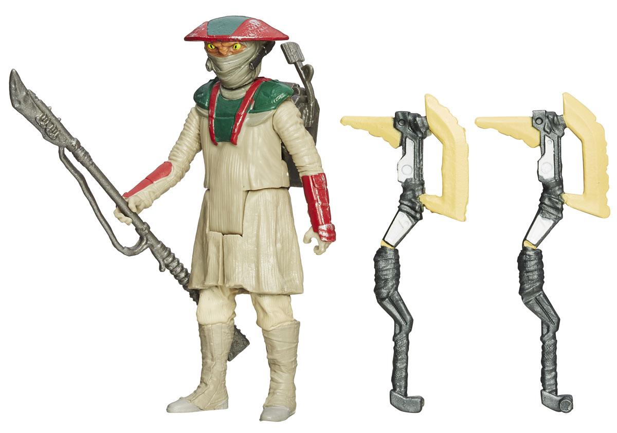 Star Wars Фигурка Constable ZuvioB3963EU4_B3968Фигурка Constable Zuvio создана в виде героя всеми любимой фантастической саги Звездные Войны. Фигурка из пластика проработана до мельчайших деталей и является точной копией своего прототипа в уменьшенном размере. Конечности фигурки подвижны: поворачивается голова, сгибаются ноги и руки. Все это сделает игру реалистичной и разнообразной. Герой Zuvio - бдительный, жесткий и лишенный чувства юмора констебль, который следит за порядком в пограничной фактории. Такая фигурка непременно понравится поклоннику Звездных войн и станет замечательным украшением любой коллекции. В наборе: фигурка и снаряжение.