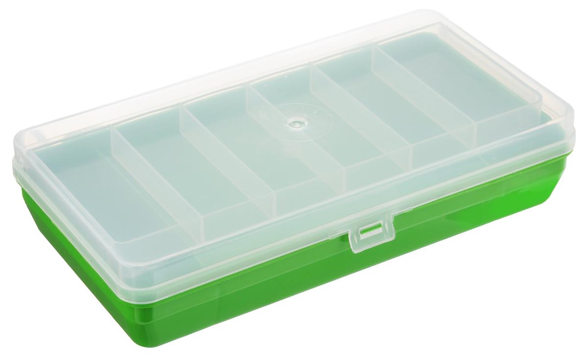 Коробка для мелочей Trivol, двухъярусная, с микролифтом, цвет: прозрачный, зеленый, 21 х 11 х 4,5 см525826_зеленыйКоробка для мелочей Trivol изготовлена из высококачественного пластика. Прозрачная крышка позволяет видеть содержимое коробки. Изделие имеет два яруса. Верхний ярус представляет собой съемное отделение, в котором содержится 6 прямоугольных ячеек. Нижний ярус имеет 3 ячейки разного размера. Коробка прекрасно подойдет для хранения швейных принадлежностей, рыболовных снастей, мелких деталей и других бытовых мелочей. Удобный замок-защелка обеспечивает надежное закрывание крышки. Коробка легко моется и чистится. Такая коробка поможет держать вещи в порядке. Размер малой ячейки: 3,5 х 8 х 1,5 см. Размер большой ячейки: 14 х 11 х 2,6 см.