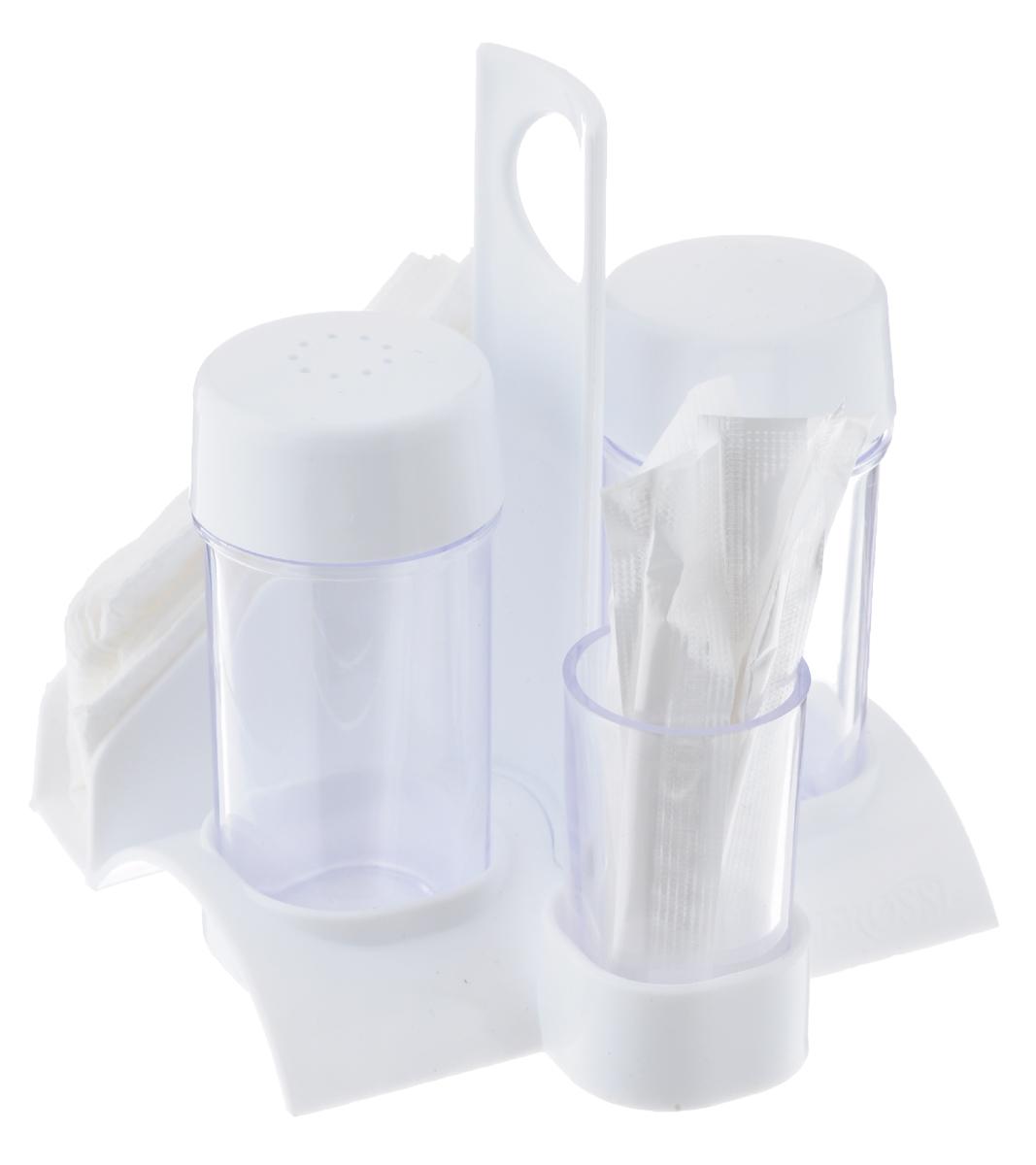 Набор для специй Berossi Рондо презент, цвет: снежно-белый, прозрачный, 6 предметовИК07301000Набор для специй Berossi Рондо презент состоит из солонки, перечницы, подставки, емкости для зубочисток, 7 зубочисток и 3 салфеток. Емкости и подставка выполнены из высококачественного пластика. Подставка имеет удобную ручку. Набор для специй Berossi Рондо презент прекрасно оформит кухонный стол и станет незаменимым аксессуаром на любой кухне. Высота солонки/перечницы (с учетом крышки): 8 см. Высота подставки под зубочистки: 5 см. Размер подставки: 10,5 см х 10,5 см х 12 см. Длина зубочистки: 6,5 см. Размер салфетки: 24 см х 23,5 см.