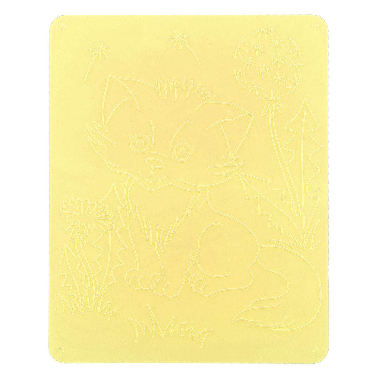 Луч Трафарет рельефный Кошки цвет желтый18С 1177-08_желтыйТрафарет рельефный Луч Кошки, выполненный из безопасного пластика, предназначен для детского творчества. Трафарет не имеет традиционных прорезей - рисунок выступает над плоской поверхностью. Чтобы получить рисунок на бумаге, трафарет кладется под лист, а сверху бумага штрихуется с помощью восковых карандашей. Метод штриховки особенно полезен при подготовке ребенка к школе, развивается мелкая моторика, зрительное восприятие, аккуратность, и вместе с тем, ребенок с увлечением учится рисовать. Также трафарет предназначен для развития зрительно-двигательной координации и навыков художественной композиции. В упаковке один двусторонний трафарет с изображением милых котят. Трафарет предназначен для работы с восковыми карандашами.