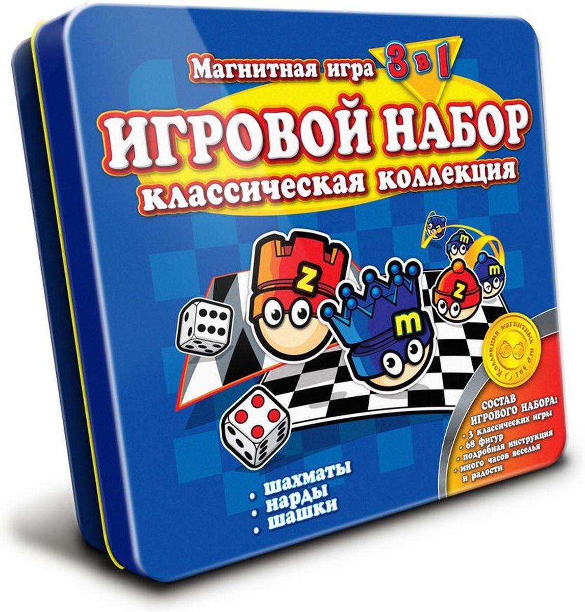 Mack & Zack Магнитная игра 3 в 1 Шахматы Шашки НардыGS_CLASSICТеперь вы можете играть в три классические игры в магнитном варианте от Mack & Zack. Дорожный набор Шахматы, шашки, нарды станет незаменимым во время похода или поездки. В наборе - шахматные фигуры и шашки, выполненные в виде Мака и Зака. Нижняя часть коробки сделана в виде игрового поля для шахмат и шашек, верхняя в виде поля для нард. Такой набор поможет развить логическое мышление и позволит вам интересно и с пользой провести время. Фигурки будут прочно держаться на металлическом поле и не разлетятся по салону автомобиля или вагону поезда. В составе набора игральные кубики, шашки и шахматные фигуры, выполненные в виде забавных красно-синих человечков - Мака и Зака. Верхняя часть металлической коробки представляет собой игровое поле для нард, нижняя - для шахмат и шашек. Благодаря компактным размерам набор от Mack & Zack не займет много места в дорожной сумке. Если вы позабудете правила игры, на помощь придет подробная инструкция, которая также входит в...