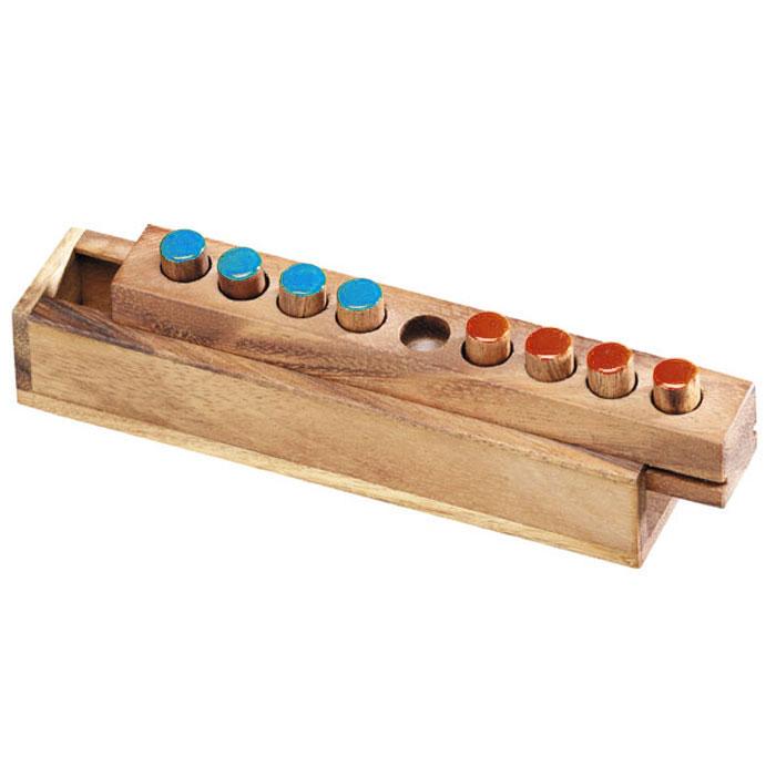 Dilemma Головоломка Перестановка 8IQ303Головоломка Dilemma Перестановка 8, выполненная из дерева, станет отличным подарком всем любителям головоломок! Игра состоит из деревянной рамки с 9 отверстиями и 8 фишек (по 4 каждого цвета). Поставьте по 4 фишки одного цвета с каждой стороны рамки, оставив среднее отверстие пустым. Цель: Поменяйте фишки разного цвета местами. 1. Фишки каждого цвета могут двигаться только вперед (т.е. только в одном направлении). 2. Допускается ход на один шаг вперед или прыжок через одну фишку. Слишком сложно? Тогда вы можете воспользоваться предложенным решением в качестве подсказки. Игра рассчитана на одного игрока. Головоломка Dilemma Перестановка 8 стимулирует логику, пространственное мышление и мелкую моторику рук.