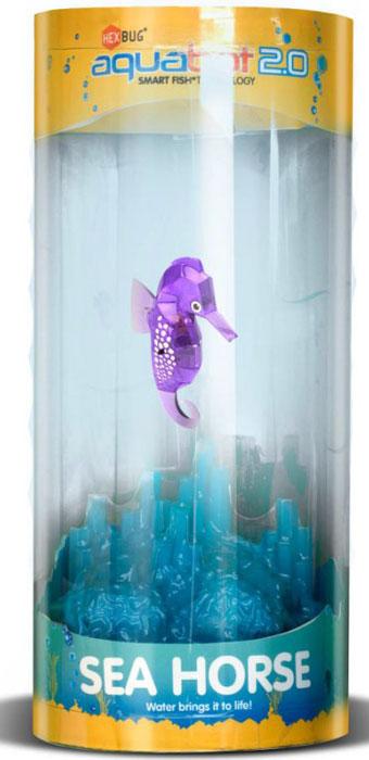 Hexbug Игровой набор Морской конек с аквариумом цвет фиолетовый460-4309_4Hexbug Seahorse with Tank (Морской конек с аквариумом) - набор, включающий в себя небольшой круглый аквариум с одним Морским коньком. Комплектация может различаться и включать в себя Морских коньков разного цвета. Морской конек станет верным другом и сможет украсить дом или офис. Тщательного ухода и кормления он не требует. Морской конек умеет светиться в темноте, а также реагирует на звук: примерное время бодрствования составляет около 5 минут, затем он замирает, для его пробуждения достаточно постучать по стенке аквариума и Морской конек моментально оживет.