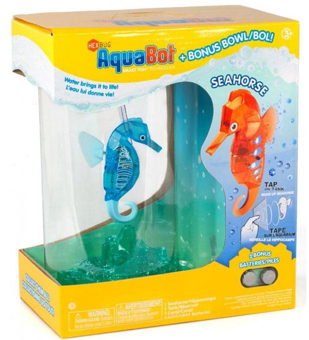 Hexbug Игровой набор Морской конек с аквариумом цвет голубой460-4309_2Hexbug Seahorse with Tank (Морской конек с аквариумом) - набор, включающий в себя небольшой круглый аквариум с одним Морским коньком. Комплектация может различаться и включать в себя Морских коньков разного цвета. Морской конек станет верным другом и сможет украсить дом или офис. Тщательного ухода и кормления он не требует. Морской конек умеет светиться в темноте, а также реагирует на звук: примерное время бодрствования составляет около 5 минут, затем он замирает, для его пробуждения достаточно постучать по стенке аквариума и Морской конек моментально оживет.