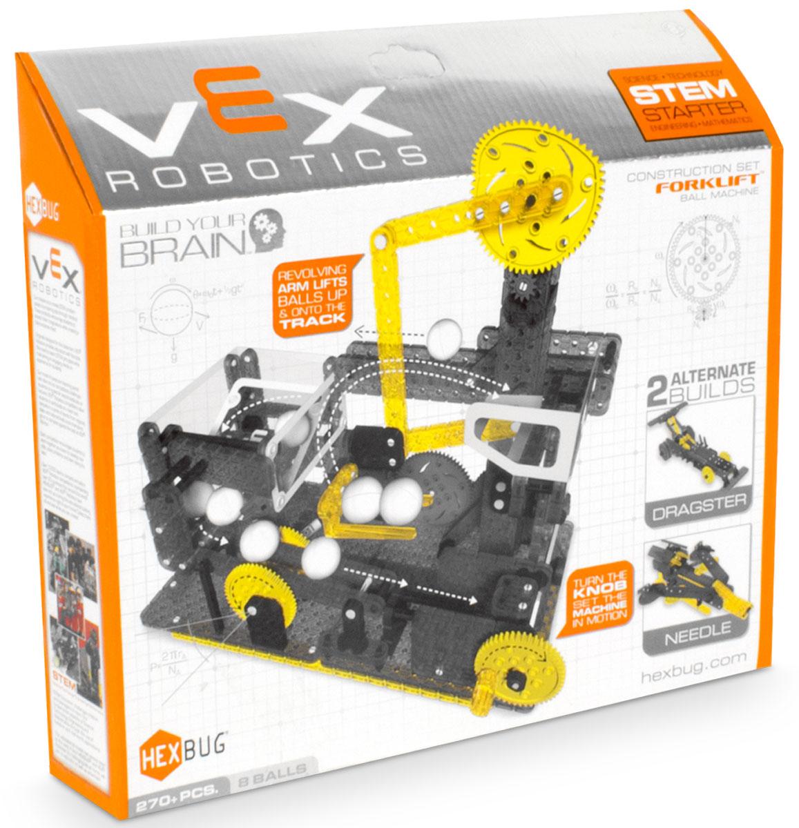 Hexbug Конструктор Vex Forklift Ball Machine406-4205Компания Innovation First, известная созданием конструкторов для соревнований VEX Competition, решила адаптировать свои идеи для каждого ребенка. Поэтому они запустили серию VEX Hexbug. Это небольшие конструкторы для создания несложных действующих механизмов. Hexbug Vex Fork Lift — один из интересных представителей этой линейки. Этот набор состоит из 270 элементов. В результате сборки, ребенок получит уникальный механизм, способный поднимать и перемещать маленькие шарики со скоростью 1 шарик в секунду. Достаточно будет только провернуть ручку. И это еще не все! Ребенок может проявить свою фантазию, и сделать несколько модификаций или, при наличии других наборов, собрать большой конвейер. При желании, можно отдельно приобрести электродвигатели, и автоматизировать весь механизм. Эти наборы будут интересны не только детям, но и их родителям. С помощью этих конструкторов, они смогут познакомить детей с миром механики в игровой форме.