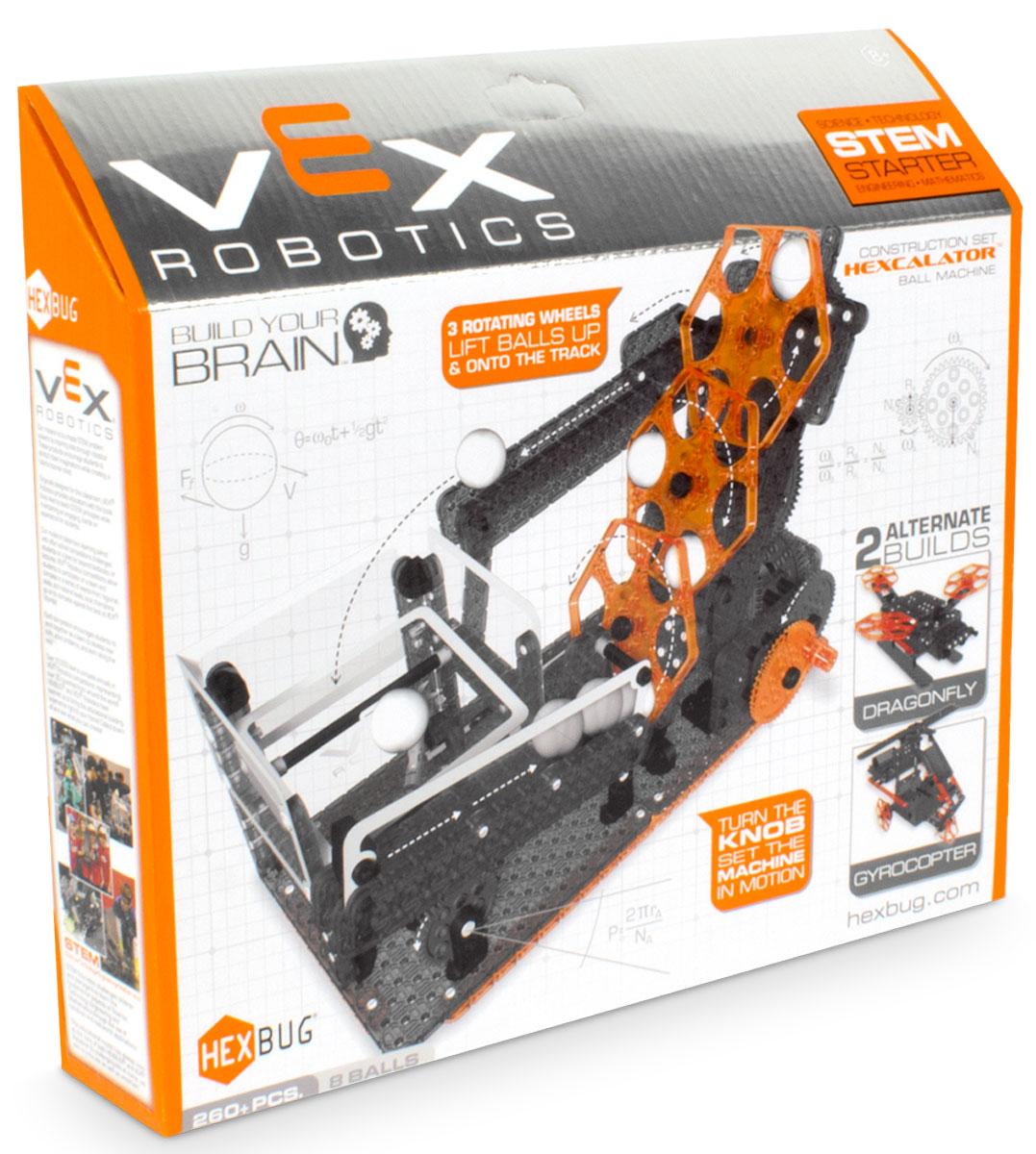 Hexbug Конструктор Vex Hexcalator Ball Machine406-4206Компания Innovation First, известная созданием конструкторов для соревнований VEX Competition, решила адаптировать свои идеи для каждого ребенка. Поэтому они запустили серию VEX Hexbug. Это небольшие конструкторы для создания несложных действующих механизмов. Hexbug Vex Hexcalator один из них. Этот набор состоит из 260 элементов. Используя эти элементы ребенок сможет собрать сложный механизм, который будет способен доставлять маленькие шарики на определенную высоту с помощью шестигранных площадок. И это еще не все! Ребенок может проявить свою фантазию, и сделать несколько модификаций или, при наличии других наборов, собрать большой конвейер. При желании, можно отдельно приобрести электродвигатели, и автоматизировать весь механизм. Эти наборы будут интересны не только детям, но и их родителям. С помощью этих конструкторов, они смогут познакомить детей с миром механики в игровой форме.