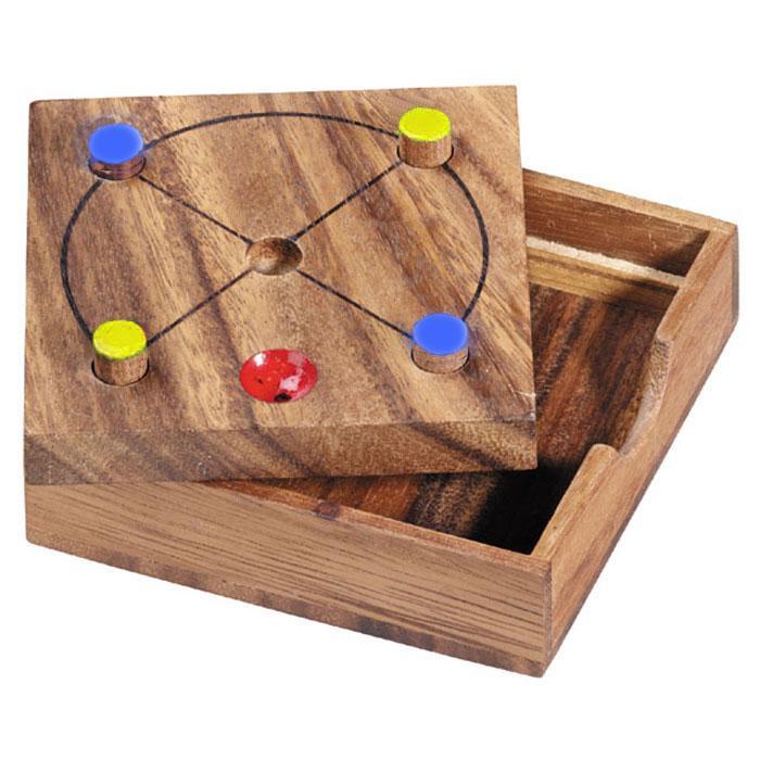Dilemma Головоломка ТупикIQ217Головоломка Dilemma Тупик, выполненная из дерева, станет отличным подарком всем любителям головоломок! Игра для двух игроков. Игра состоит из доски с пятью отверстиями, двух фишек одного цвета и двух фишек другого цвета. Каждый игрок ставит свои две фишки на одной из двух диагоналей. Цель: Заблокировать противника и не дать ему сделать ход. Побеждает игрок, который заблокировал фишки противника (игрок, который не может сделать ход, проигрывает). Головоломка Dilemma Тупик стимулирует логику, пространственное мышление и мелкую моторику рук.
