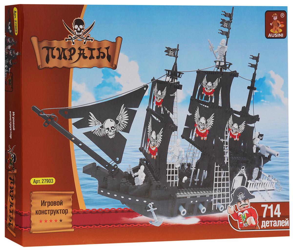 Ausini Конструктор Пиратский корабль27903Конструктор Ausini Пиратский корабль состоит из 714 элементов, с помощью которых ребенок сможет построить пиратский корабль-призрак с командой скелетов (4 фигурки в комплекте). Детали между собой прекрасно скрепляются, а также совместимы с конструкторами других марок. Малыш часами будет играть с этим конструктором, придумывая разные истории и комбинируя детали. Конструктор Ausini Пиратский корабль - это замечательная развивающая игрушка, которая послужит не только в качестве развлечения вашего ребенка, но и поможет ему в совершенствовании таких жизненно важных навыков, как мелкая моторика, тактильное и визуальное восприятие, мышление, воображение, внимательность и усидчивость, а также познакомит его с основами моделирования и конструирования. Совместим с конструкторами Лего.