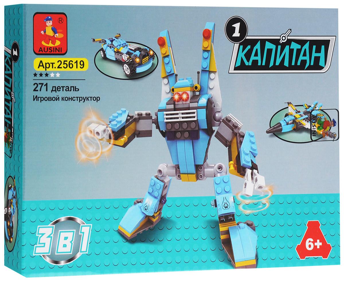 Ausini Конструктор Сражение 3 в 1 2561925619Конструктор Ausini Сражение 3 в 1 состоит из 271 элемента, и позволяет собрать робота, самолет или гоночную машину. Детали между собой прекрасно скрепляются, а также совместимы с конструкторами других марок. Самолет может легко перестраиваться в гоночную машину или в готового к сражению робота. Конструктор Ausini Сражение 3 в 1 - это замечательная развивающая игрушка, которая послужит не только в качестве развлечения вашего ребенка, но и поможет ему в совершенствовании таких жизненно важных навыков, как мелкая моторика, тактильное и визуальное восприятие, мышление, воображение, внимательность и усидчивость, а также познакомит его с основами моделирования и конструирования.
