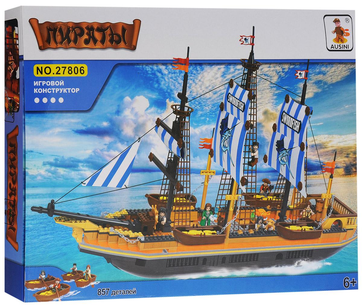 Ausini Конструктор Корабль27806Конструктор Ausini Корабль состоит из 857 элементов, с помощью которых ребенок сможет построить мирный парусник со спасательными шлюпками. На шлюпках команда может высадиться на необитаемый остров и найти клад, зарытый пиратами. В комплекте 6 фигурок команды, фигурка обезьянки. Детали между собой прекрасно скрепляются, а также совместимы с конструкторами других марок. Малыш часами будет играть с этим конструктором, придумывая разные истории и комбинируя детали. Конструктор Ausini Корабль - это замечательная развивающая игрушка, которая послужит не только в качестве развлечения вашего ребенка, но и поможет ему в совершенствовании таких жизненно важных навыков, как мелкая моторика, тактильное и визуальное восприятие, мышление, воображение, внимательность и усидчивость, а также познакомит его с основами моделирования и конструирования. Совместим с конструкторами Лего.