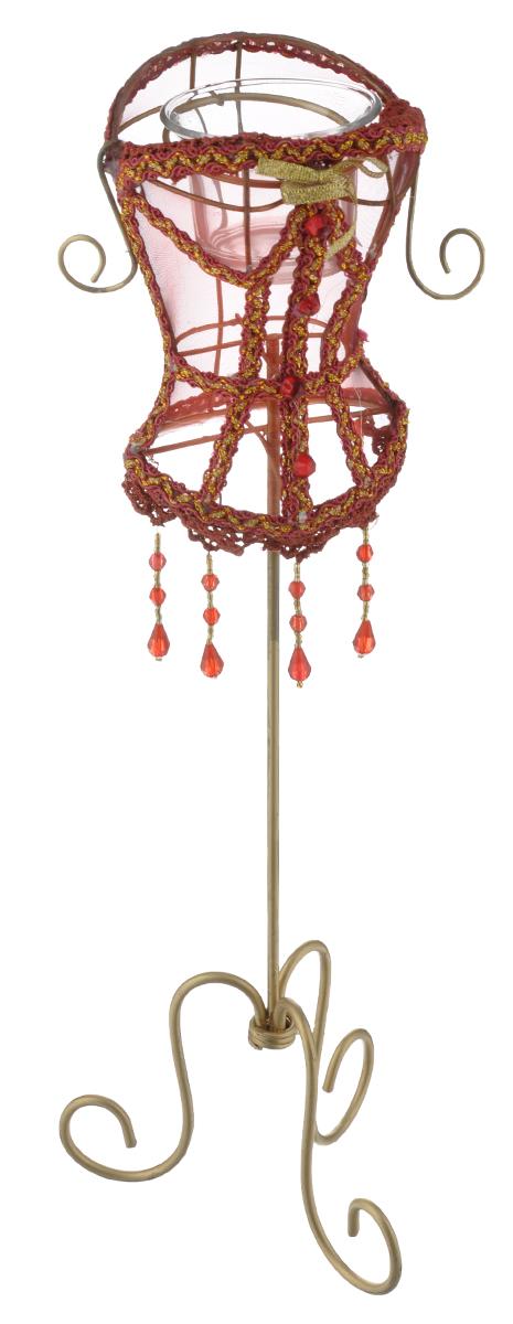 Декоративный подсвечник Феникс-презент Magic Time, цвет: бордовый, золотистый, высота 40 см15695Декоративный подсвечник Феникс-презент Magic Time, изготовленный из металла, полиэстера и пластика, - прекрасный выбор для тех, кто хочет сделать запоминающийся подарок родным и близким. Изделие выполнено в виде манекена со стеклянным стаканом для свечи (свеча в комплект не входит). Кроме того, подсвечник может хорошо вписаться в интерьер вашего дома или дачи. Размер стакана для свечи: 6 см х 6 см х 4,5 см. Размер декоративной части подсвечника: 13 см х 9 см х 14,5 см.