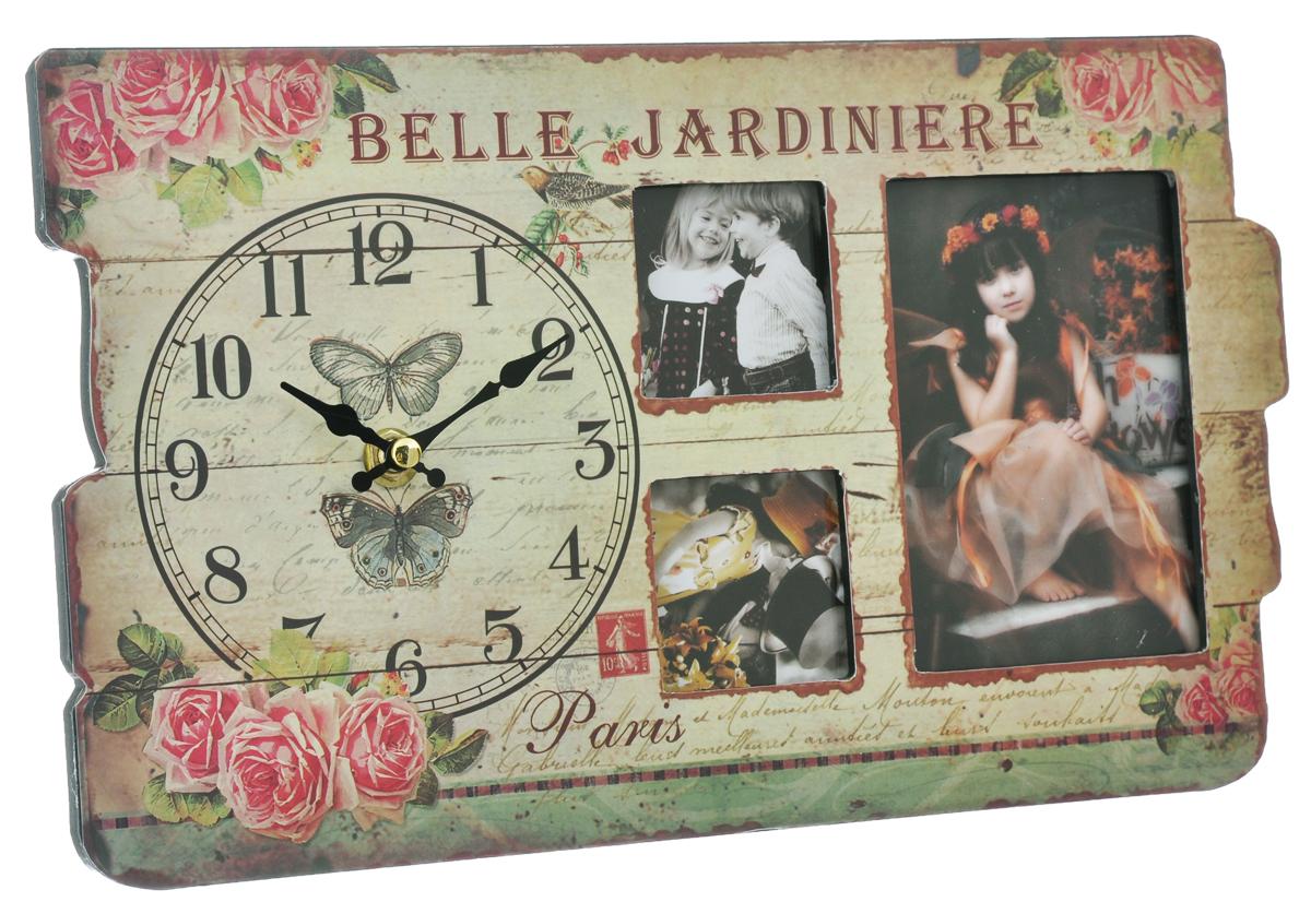 Часы настольные Феникс-презент, с 3 фоторамками, 32 см х 19 см х 2,7 см32158Настольные часы Феникс-презент выполнены из МДФ и декорированы оригинальным рисунком. Изделие оснащено 3 фоторамками разных размеров. Часы работают от одной батарейки 1,5V (не входит в комплект). Настольные часы Феникс-презент - прекрасный подарок и красивый предмет для декора интерьера. Материал: МДФ, стекло, пластик. Диаметр циферблата: 12 см. Размер фоторамок: 12 см х 8 см, 5 см х 5 см, 5 см х 5 см.