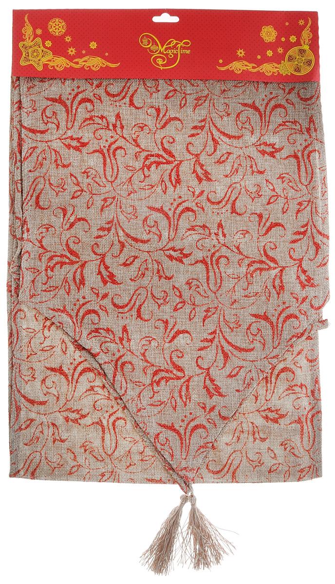 Дорожка для декорирования стола Феникс-презент Узоры, цвет: светло-коричневый, красный, 32 x 180 см38921Прямоугольная дорожка Феникс-презент Узоры, изготовленная из полиэстера, предназначена для декорирования стола. Дорожка выполнена в виде сеточки и украшена ярким цветочным узором и блестками. Изысканное оформление изделия придает ему необыкновенную легкость. Дорожка Феникс-презент Узоры станет великолепным украшением стола и создаст атмосферу уюта и тепла вашем доме.