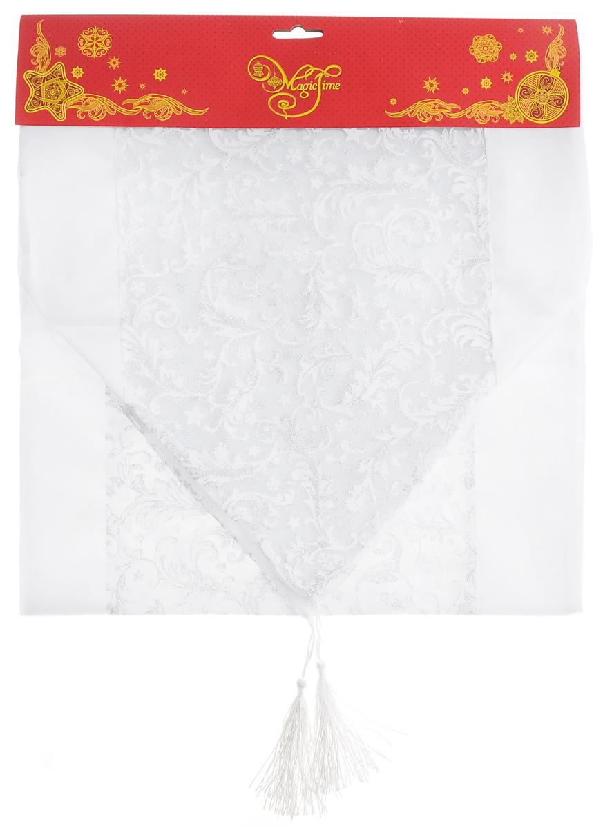 Дорожка для декорирования стола Феникс-презент Узоры, цвет: белый, серебристый, 35 x 140 см38919Прямоугольная дорожка Феникс-презент Узоры, изготовленная из полиэстера, предназначена для декорирования стола. Дорожка украшена ажурным узором и блестками. Изысканное оформление изделия придает ему необыкновенную легкость. Дорожка Феникс-презент Узоры станет великолепным украшением стола и создаст атмосферу уюта и домашнего тепла в интерьере вашей кухни.