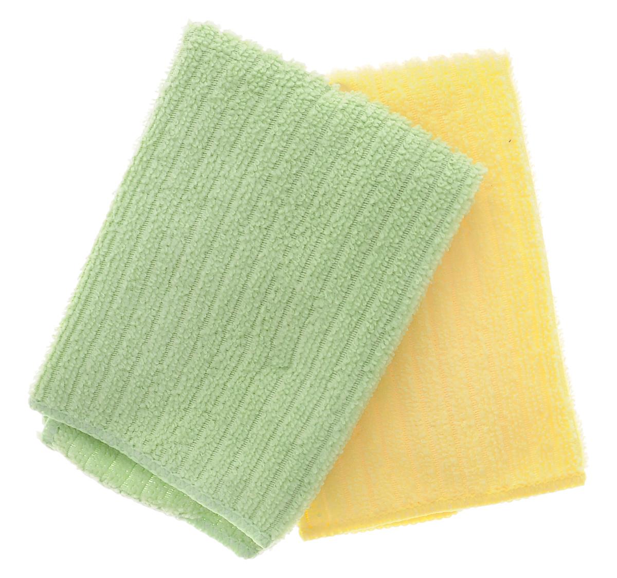 Салфетка из микрофибры Home Queen, цвет: желтый, зеленый, 30 х 30 см, 2 шт57048_желтый, зеленыйСалфетка Home Queen изготовлена из микрофибры. Это великолепная гипоаллергенная ткань, изготовленная из тончайших полимерных микроволокон. Салфетка из микрофибры может поглощать количество пыли и влаги, в 7 раз превышающее ее собственный вес. Многочисленные поры между микроволокнами, благодаря капиллярному эффекту, мгновенно впитывают воду, подобно губке. Благодаря мелким порам микроволокна, любые капельки, остающиеся на чистящей поверхности очень быстро испаряются и остается чистая дорожка без полос и разводов. В сухом виде при вытирании поверхности волокна микрофибры электризуются и притягивают к себе микробов, мельчайшие частицы пыли и грязи, удерживая их в своих микропорах. Размер салфетки: 30 см х 30 см.