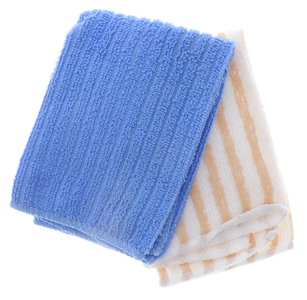 Салфетка из микрофибры Home Queen, цвет: синий, бежевый, белый, 30 х 30 см, 2 шт57048_синий, бежевыйСалфетка Home Queen изготовлена из микрофибры. Это великолепная гипоаллергенная ткань, изготовленная из тончайших полимерных микроволокон. Салфетка из микрофибры может поглощать количество пыли и влаги, в 7 раз превышающее ее собственный вес. Многочисленные поры между микроволокнами, благодаря капиллярному эффекту, мгновенно впитывают воду, подобно губке. Благодаря мелким порам микроволокна, любые капельки, остающиеся на чистящей поверхности очень быстро испаряются и остается чистая дорожка без полос и разводов. В сухом виде при вытирании поверхности волокна микрофибры электризуются и притягивают к себе микробов, мельчайшие частицы пыли и грязи, удерживая их в своих микропорах. Размер салфетки: 30 см х 30 см.