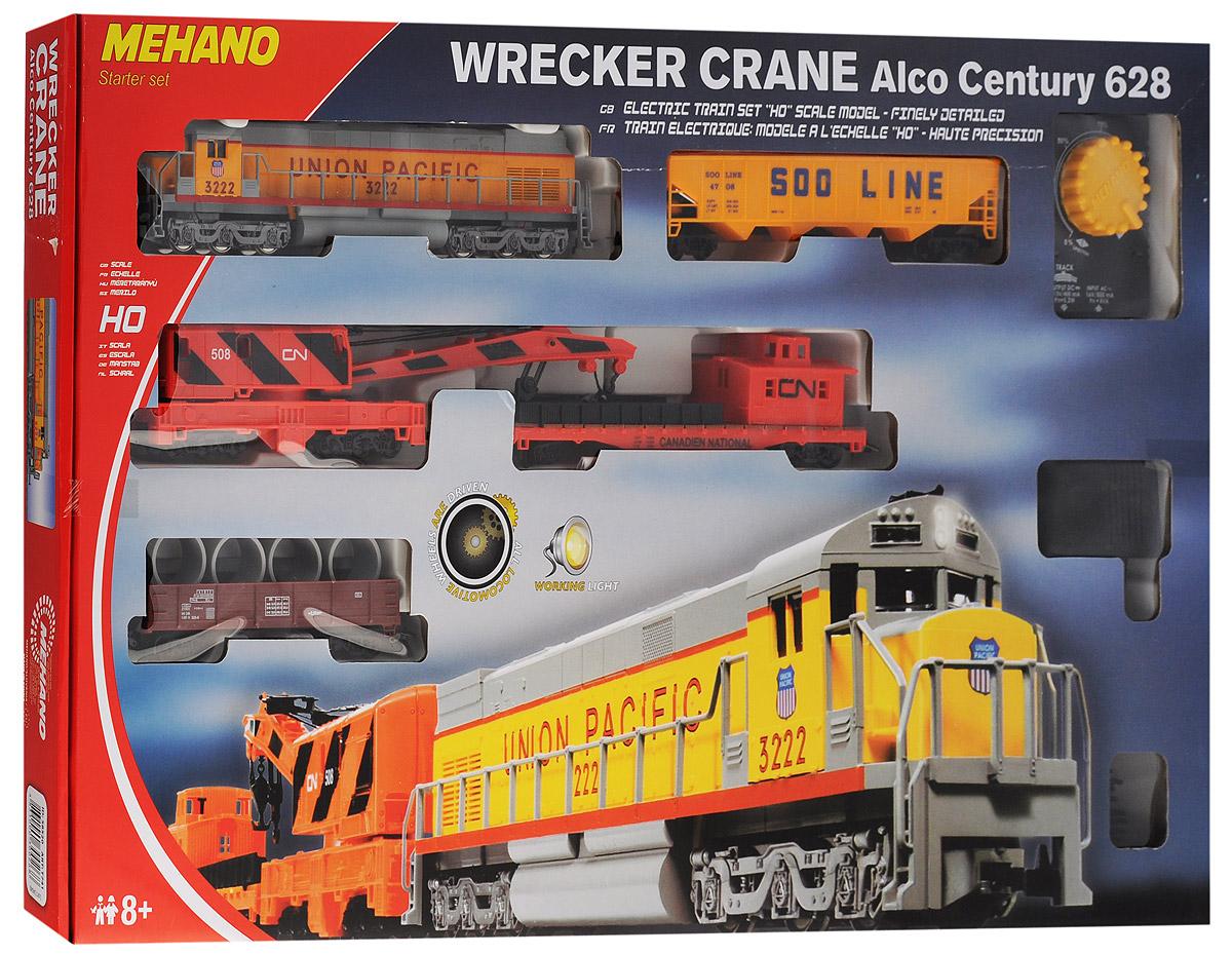 Mehano Железная дорога Wrecker CraneT741Железная дорога Mehano Wrecker Crane - миниатюрная копия экспресса Union Pacific. Такая железная дорогая понравится не только детям, но взрослым коллекционерам. В комплект входит все необходимое для создания собственного железнодорожного трека с грузовым составом: ведущий локомотив, 4 грузовых вагона, а также железнодорожное полотно, включающее в себя 12 радиальных рельс, 12 соединительных элементов системы Quick Click, сетевой адаптер, пульт-контроллер, подробную иллюстрированную инструкцию по сборке и управлению железной дорогой. Множество тщательно проработанных деталей экстерьера локомотива и вагонов придают им солидность и подчеркивают важность миссии. Являющийся частью грузового состава подъемный кран может поднимать и размещать соответствующий размерам груз на грузовую платформу. Корпусы поезда и вагонов выполнены из пластика, колеса, а также рельсы выполнены из металла. Благодаря пульту-контроллеру вы сможете изменять скорость и направление движения состава. При...
