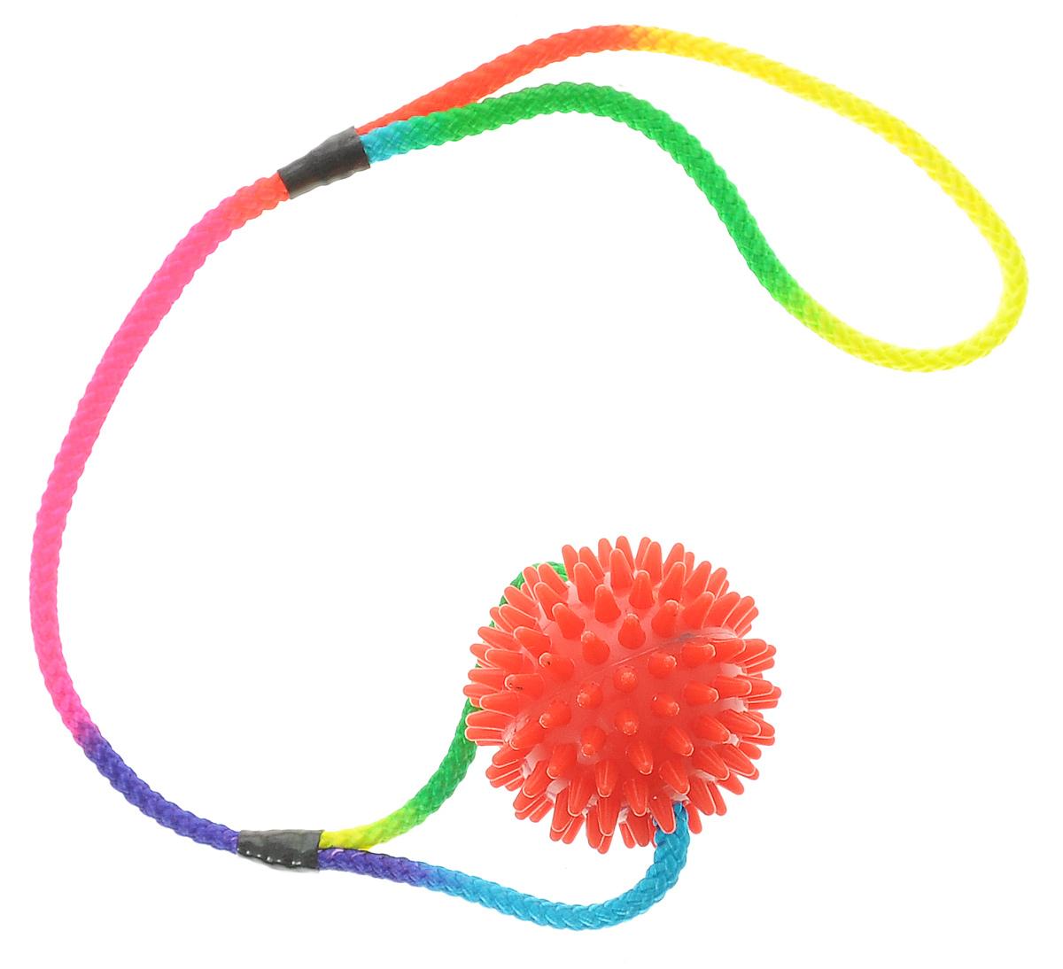 Игрушка для собак V.I.Pet Массажный мяч, на шнуре, цвет: красный, диаметр 7 см770750_красныйИгрушка для собак V.I.Pet Массажный мяч, изготовленная из ПВХ, предназначена для массажа и самомассажа рефлексогенных зон. Она имеет мягкие закругленные массажные шипы, эффективно массирующие и не травмирующие кожу. Сквозь мяч продет шнур. Игрушка не позволит скучать вашему питомцу ни дома, ни на улице. Диаметр: 7 см. Длина шнура: 50 см.