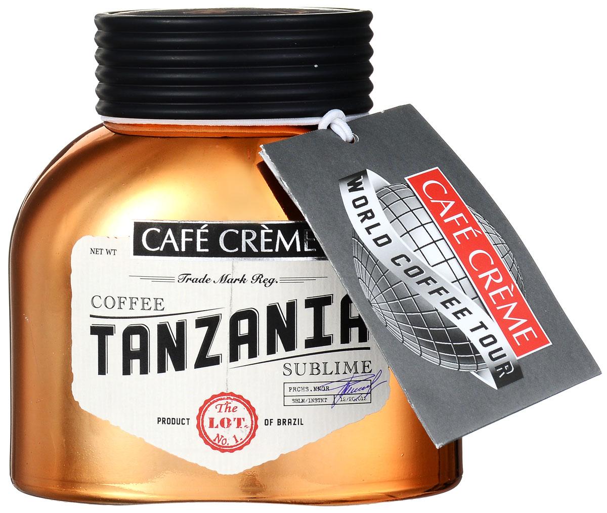 Cafe Creme Tanzania кофе растворимый, 100 г4607141337017Cafe Creme Tanzania – изысканный напиток, созданный из ценнейших сортов бразильской арабики. Этот натуральный растворимый сублимированный кофе из элитных сортов танзанийской арабики, которые выращиваются и собираются на склонах вулкана Килиманджаро. Напиток обладает полным, глубоким вкусом с пикантной кислинкой и легкой фруктовой нотой и крепким ароматом.