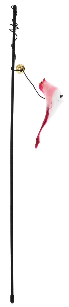 Дразнилка-удочка для кошек V.I.Pet Птица, с колокольчиком, цвет: черный, бордовый30-0959_розовыйДразнилка-удочка для кошек V.I.Pet Птица, изготовленная из текстиля и пластика, прекрасно подойдет для веселых игр вашего пушистого любимца. Играя с этой забавной дразнилкой, маленькие котята развиваются физически, а взрослые кошки и коты поддерживают свой мышечный тонус. Яркая игрушка и звонкий колокольчик на конце удочки сразу привлекут внимание вашего любимца, не навредят здоровью, и увлекут его на долгое время. Длина удочки: 46 см. Размер игрушки: 11,5 см х 4 см х 3 см.