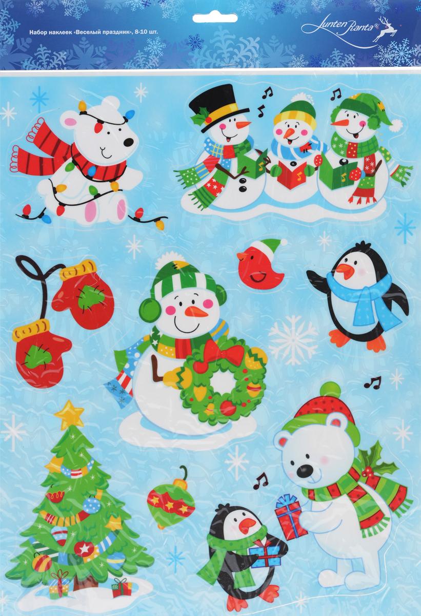 Новогоднее оконное украшение Lunten Ranta Веселый праздник, 9 шт. 65920_365920_3Новогоднее оконное украшение Lunten Ranta Веселый праздник поможет украсить дом к предстоящим праздникам. Наклейки изготовлены из ПВХ и оформлены изображением животных, снеговика и елки, нанесенных на клейкую пленку. С помощью этих украшений вы сможете оживить интерьер по своему вкусу, наклеить их на окно, на зеркало или на дверь. Новогодние украшения всегда несут в себе волшебство и красоту праздника. Создайте в своем доме атмосферу тепла, веселья и радости, украшая его всей семьей. Размер листа: 38 см х 29 см. Средний размер наклеек: 14 см х 12 см.