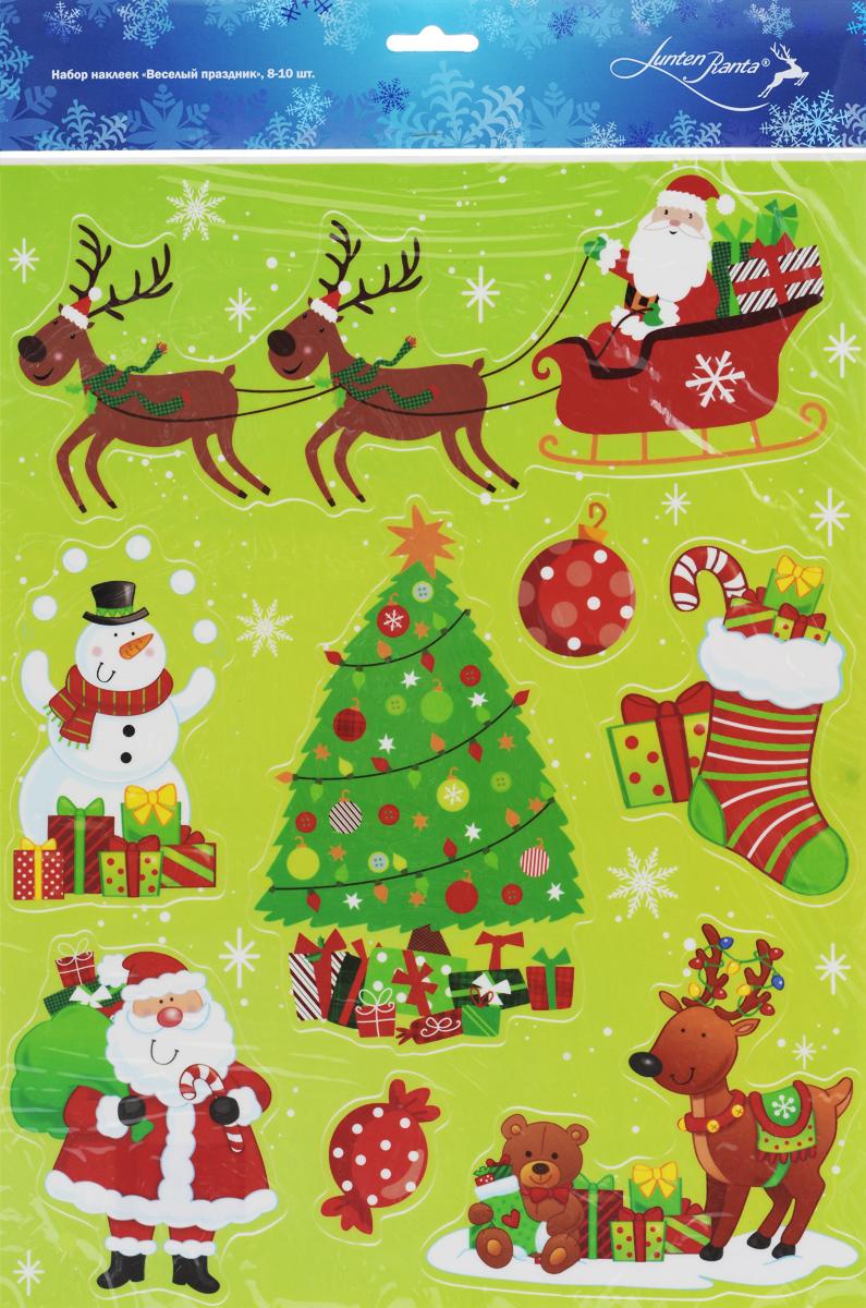 Новогоднее оконное украшение Lunten Ranta Веселый праздник, 8 шт. 65920_265920_2Новогоднее оконное украшение Lunten Ranta Веселый праздник поможет украсить дом к предстоящим праздникам. Наклейки изготовлены из ПВХ и оформлены изображением подарков, оленей, Деда Мороза, снеговика, нанесенных на клейкую пленку. С помощью этих украшений вы сможете оживить интерьер по своему вкусу, наклеить их на окно, на зеркало или на дверь. Новогодние украшения всегда несут в себе волшебство и красоту праздника. Создайте в своем доме атмосферу тепла, веселья и радости, украшая его всей семьей. Размер листа: 38 см х 29,3 см. Средний размер наклеек: 12 см х 9,5 см.