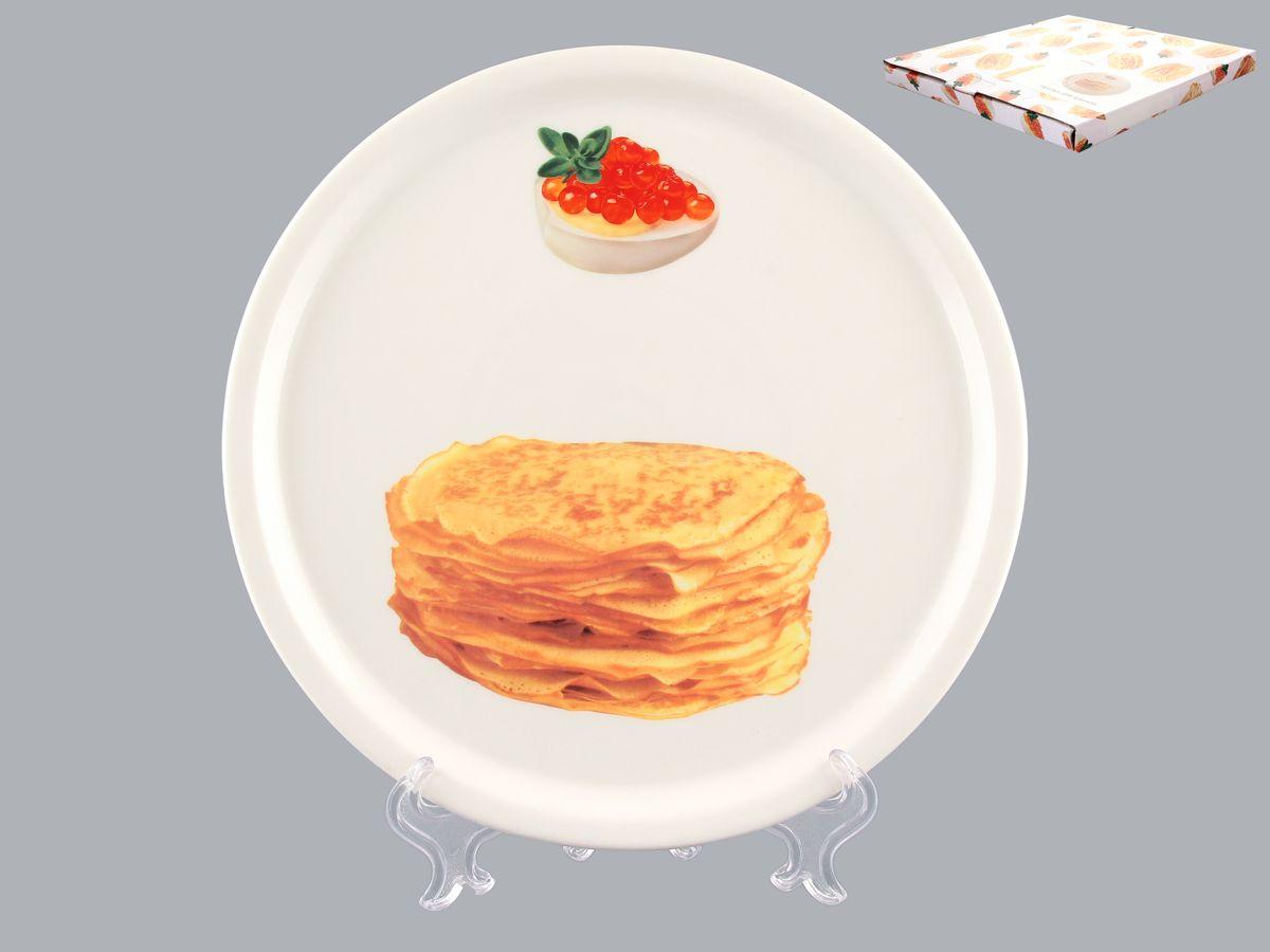 Тарелка для блинов Elan Gallery Блины, диаметр 25 см101108Круглая тарелка Elan Gallery Блины, изготовленная из фарфора и декорированная ярким и аппетитным изображением, позволит красиво подать блины. Такая тарелка украсит сервировку вашего стола и подчеркнет прекрасный вкус хозяина, а также станет отличным подарком. Диаметр: 25 см. Высота: 2 см.