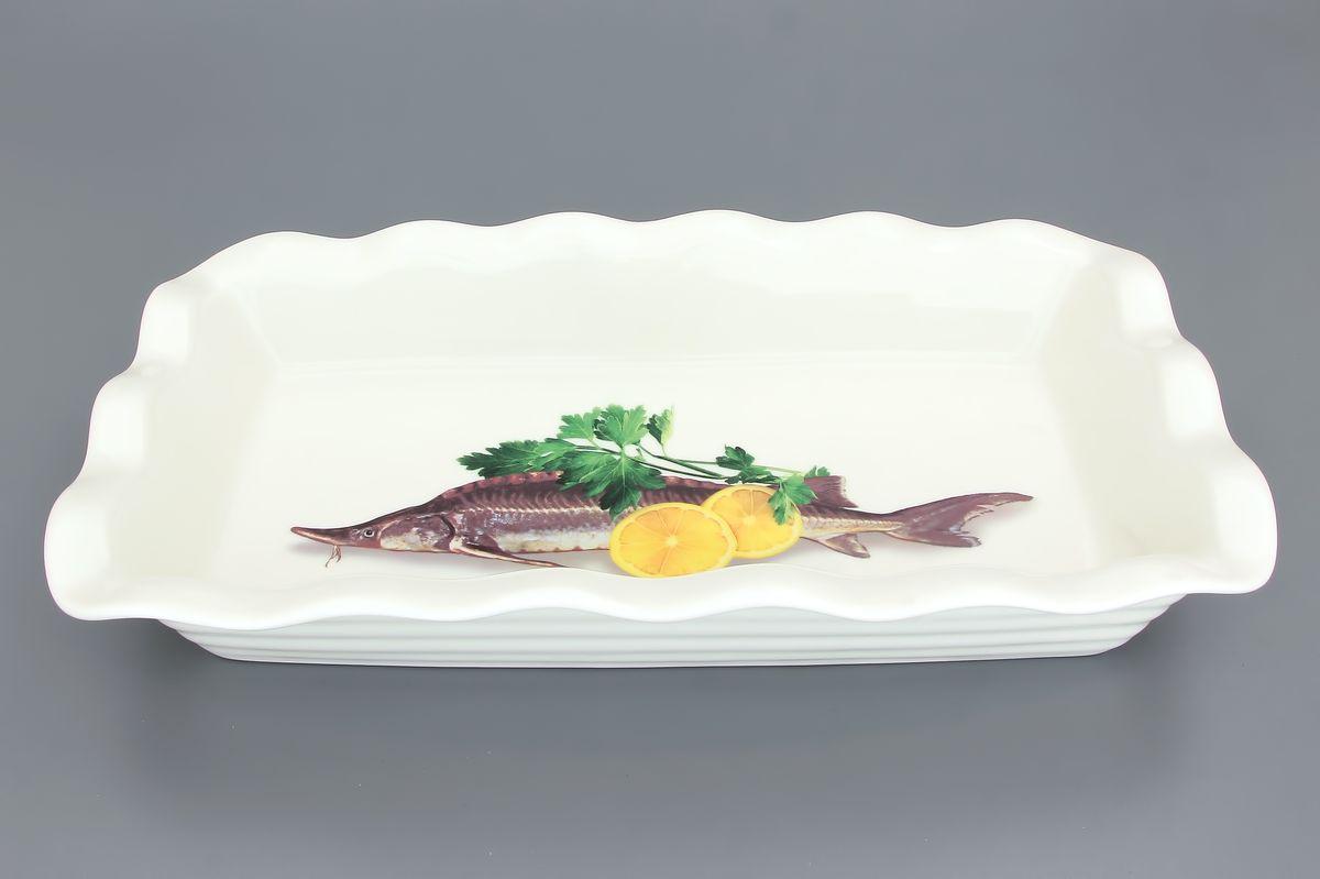 Блюдо для заливного Elan Gallery Осетр, 650 мл101212Сервировочное блюдо Elan Gallery Осетр, изготовленное из керамики, прекрасно подойдет для заливного или холодца и для хранения слоеных салатов. Блюдо оформлено рисунком с изображением осетра. Такое блюдо украсит сервировку вашего стола и подчеркнет прекрасный вкус хозяйки. Не использовать в микроволновой печи. Размер блюда (Д х Ш х В): 27 см х 15 см х 4,5 см.