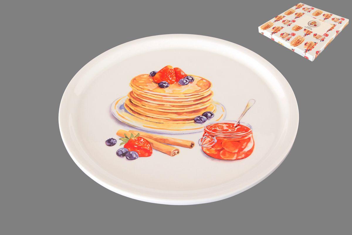 Тарелка для блинов Elan Gallery Блины с банкой варенья, диаметр 25 см101261Круглая тарелка Elan Gallery Блины с банкой варенья, изготовленная из керамики и декорированная ярким и аппетитным изображением, позволит красиво подать блины. Такая тарелка украсит сервировку вашего стола и подчеркнет прекрасный вкус хозяина, а также станет отличным подарком. Диаметр: 25 см. Высота: 2 см.
