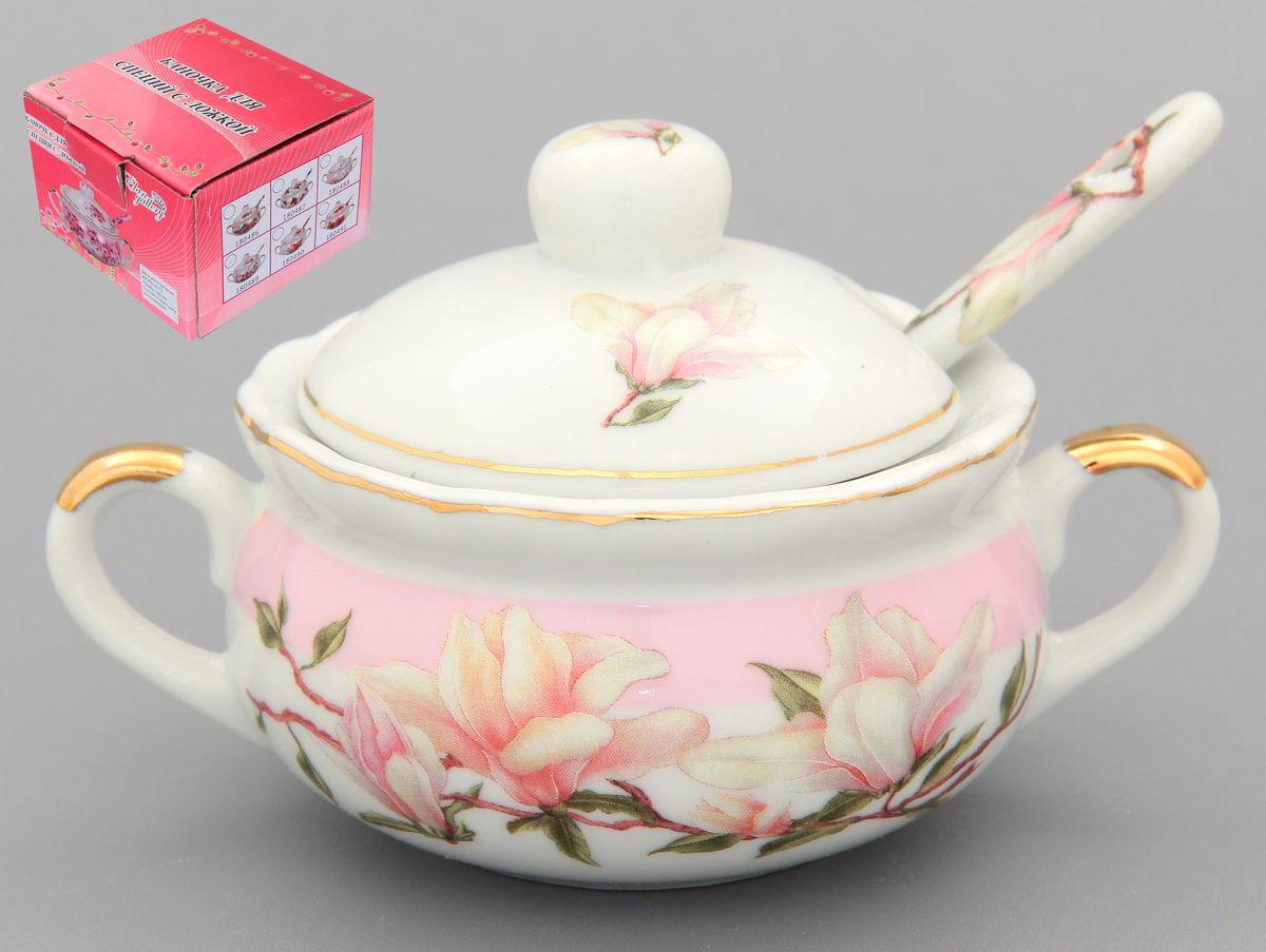 """Баночка для специй """"Орхидея на розовом"""" 12*7*7 см. 110 мл. с ложкой. 180705"""