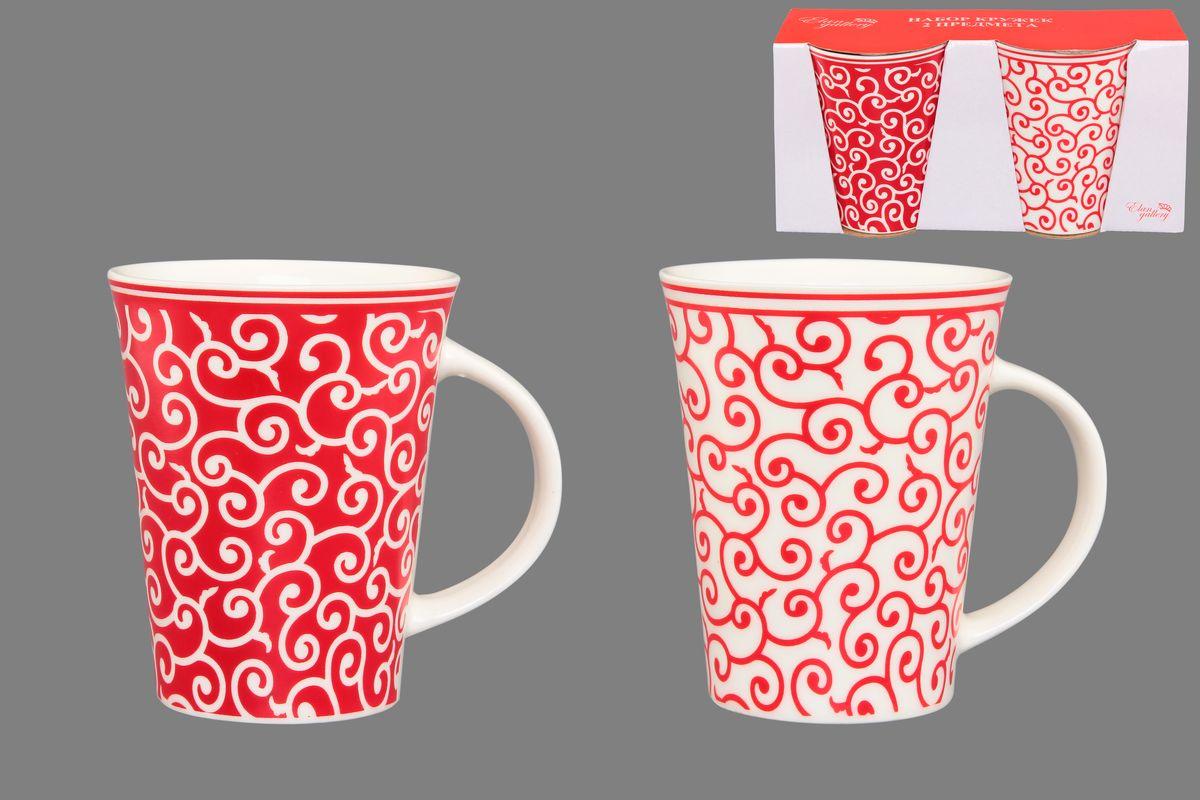 Набор кружек Elan Gallery Арабески, цвет: белый, красный, 320 мл, 2 шт250082Набор Elan Gallery Арабески состоит из двух кружек, выполненных из керамики. Этот необычный набор станет великолепным подарком для каждого и, несомненно, вызовет восхищение. Объем кружек: 320 мл. Диаметр кружек (по верхнему краю): 8,5 см. Высота кружек: 11 см. Не рекомендуется применять абразивные моющие средства. Не использовать в микроволновой печи.