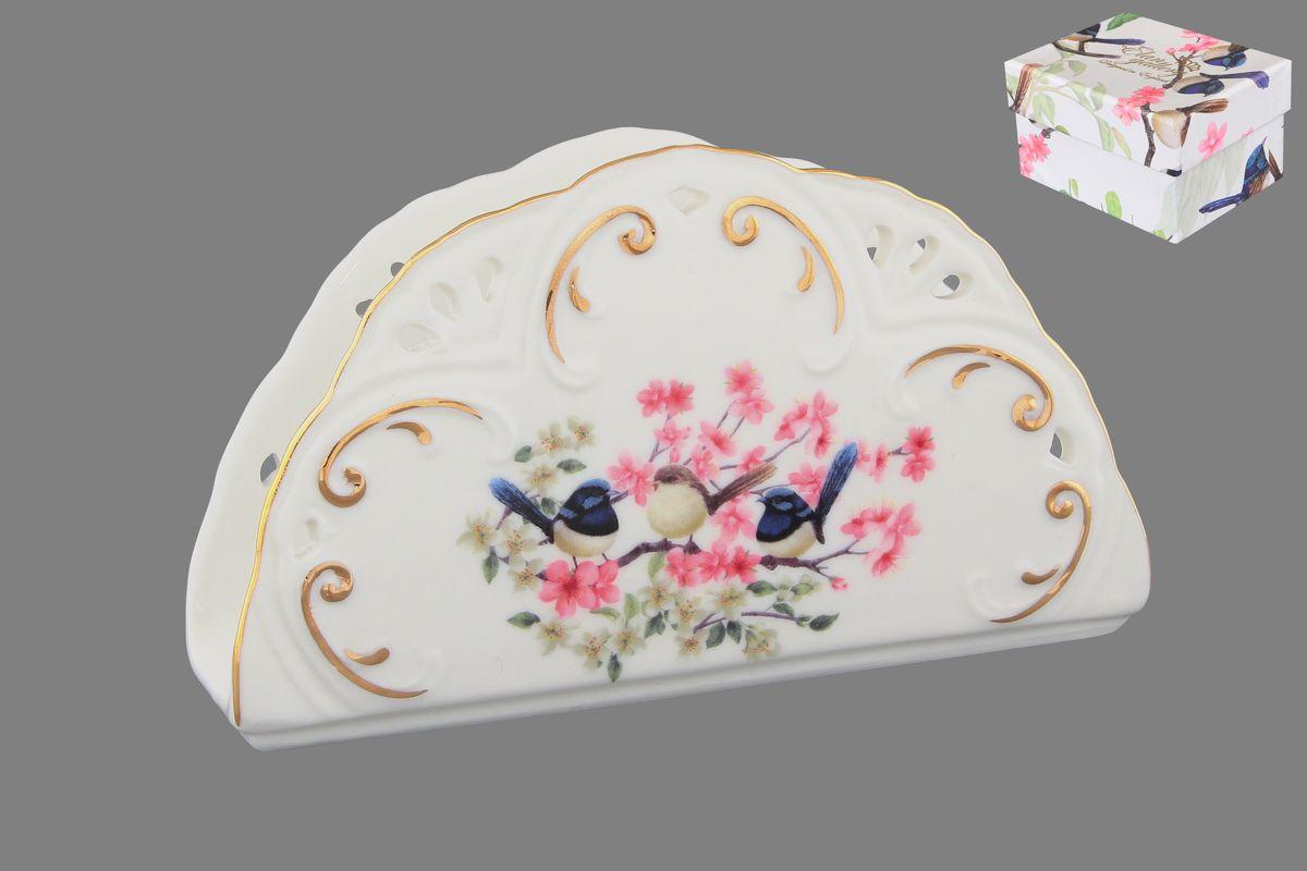 Салфетница Elan Gallery Райские птички, 14 х 4 х 8 см420029Салфетница Elan Gallery Райские птички изготовлена из высококачественной керамики и оформлена оригинальным рисунком. Она сочетает в себе изысканный дизайн с максимальной функциональностью. Компактная и в то же время вместительная салфетница станет не только украшением любого стола, но и отличным подарком.